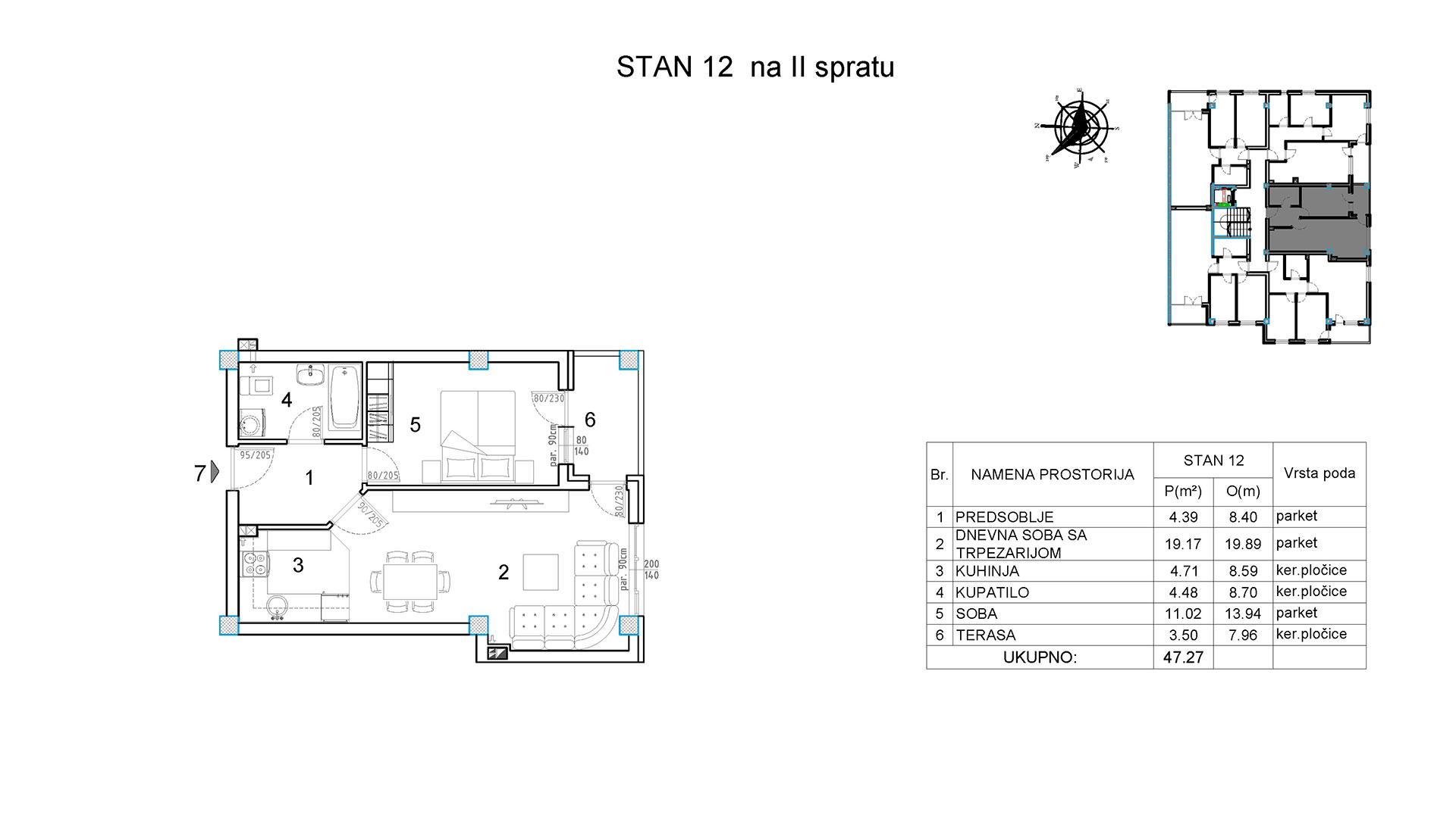 Objekat u Borivoja Stevanovica bb - Stan 12
