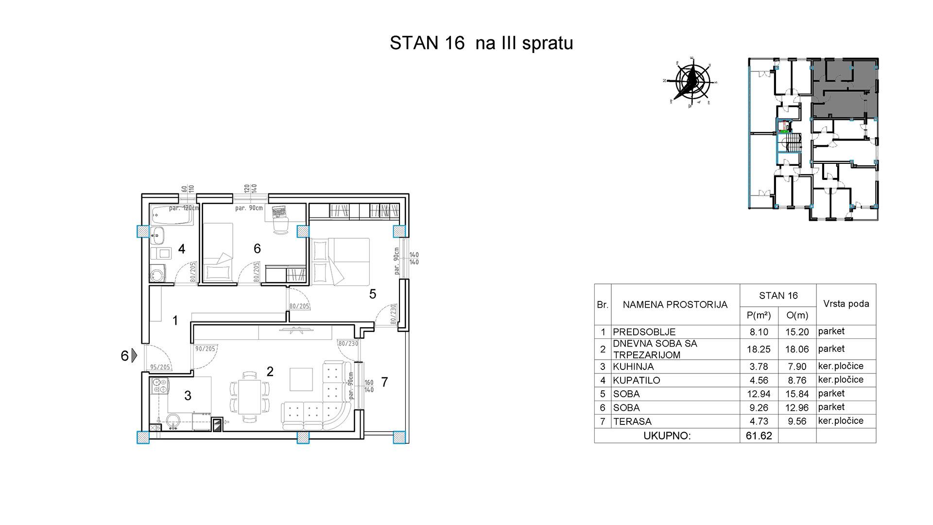 Objekat u Borivoja Stevanovica bb - Stan 16