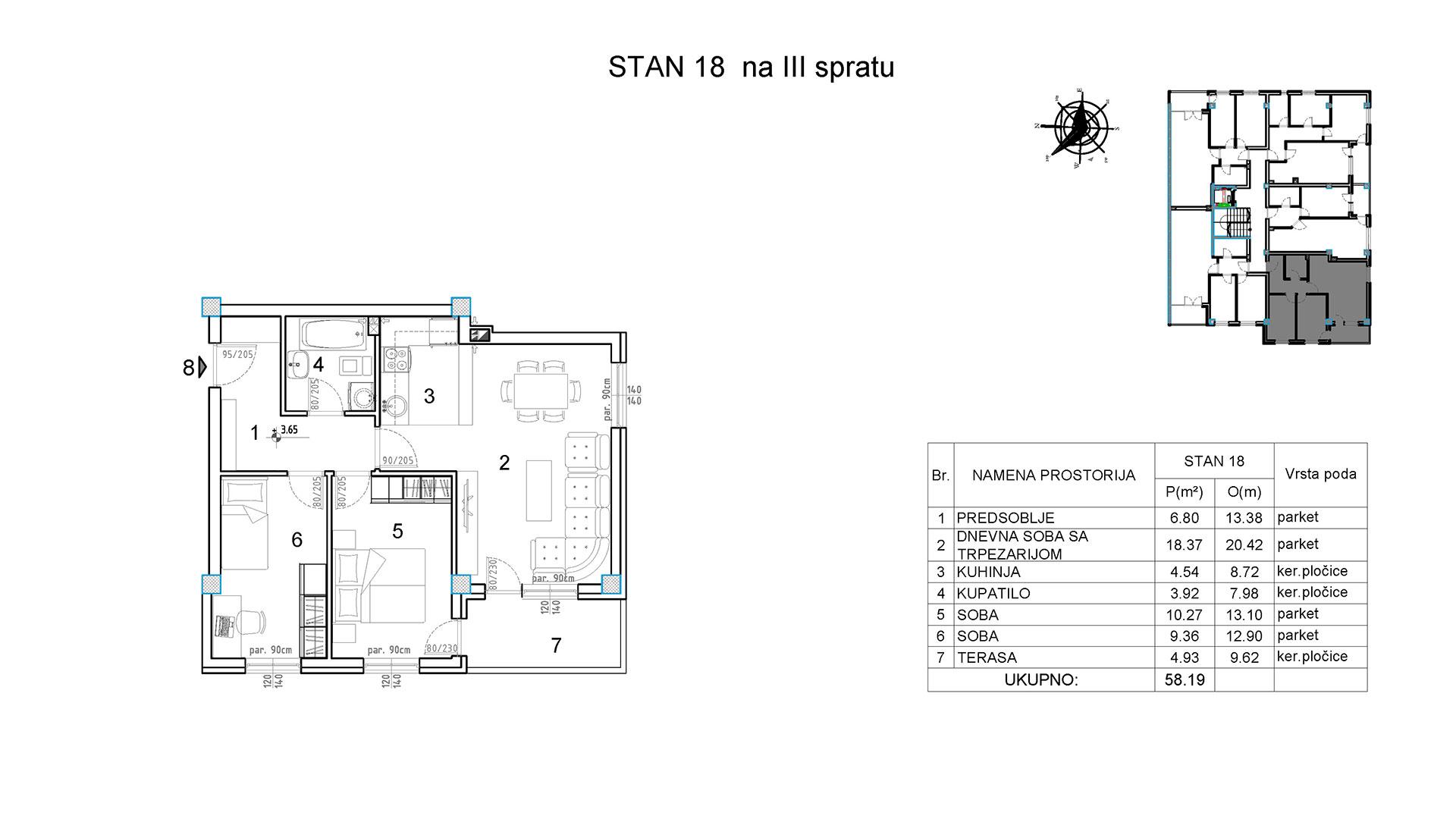 Objekat u Borivoja Stevanovica bb - Stan 18