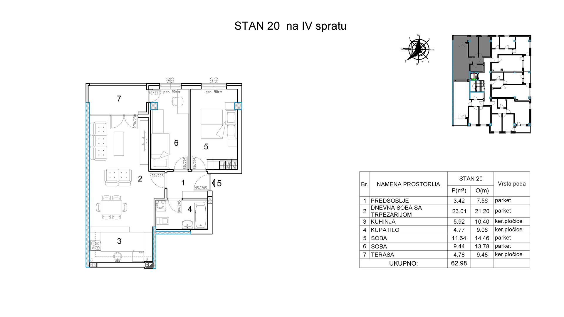 Objekat u Borivoja Stevanovica bb - Stan 20