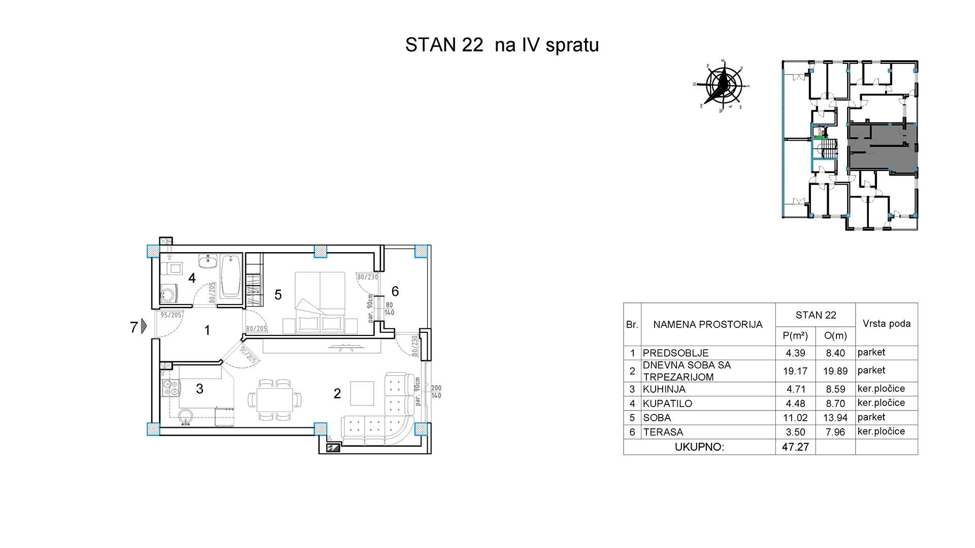 Objekat u Borivoja Stevanovica bb - Stan 22