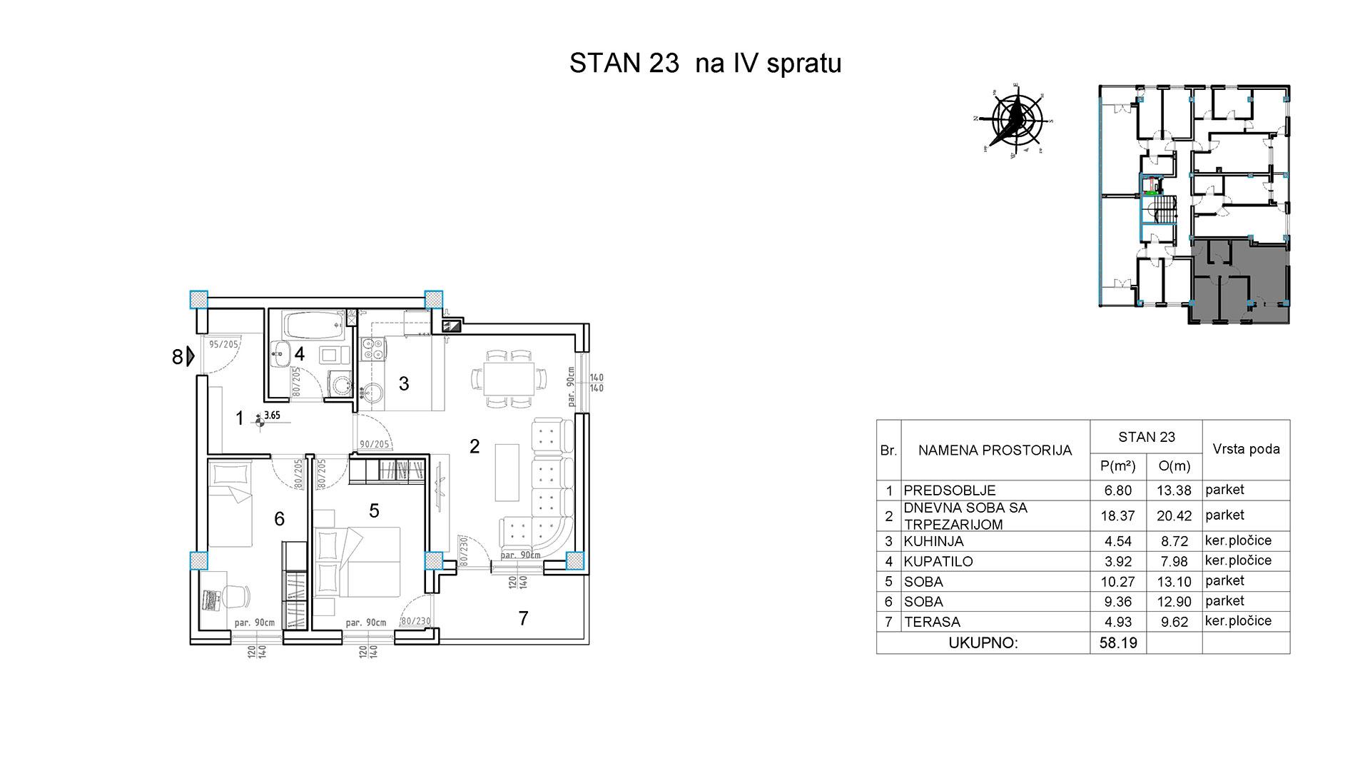 Objekat u Borivoja Stevanovica bb - Stan 23