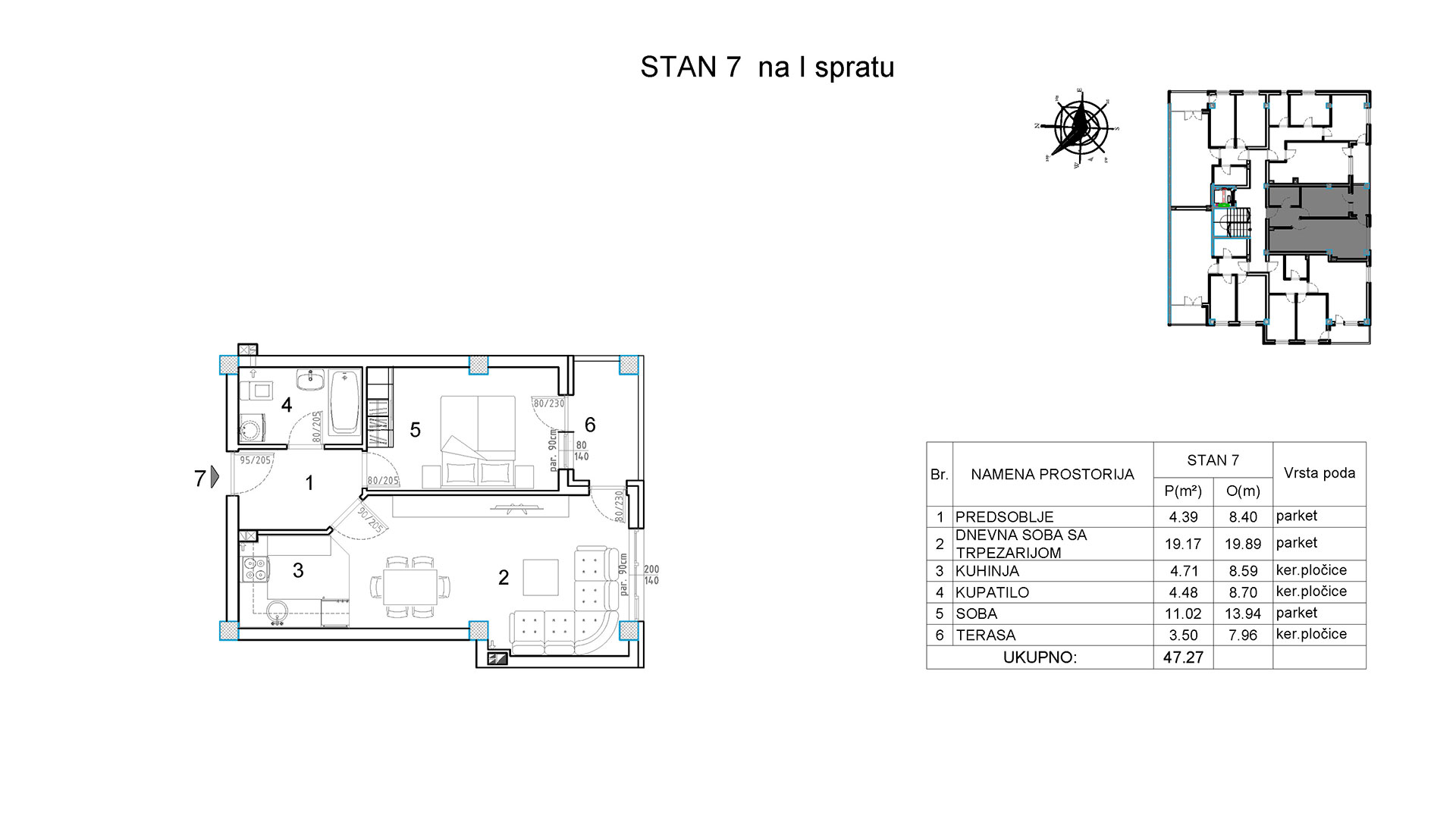 Objekat u Borivoja Stevanovica bb - Stan 7