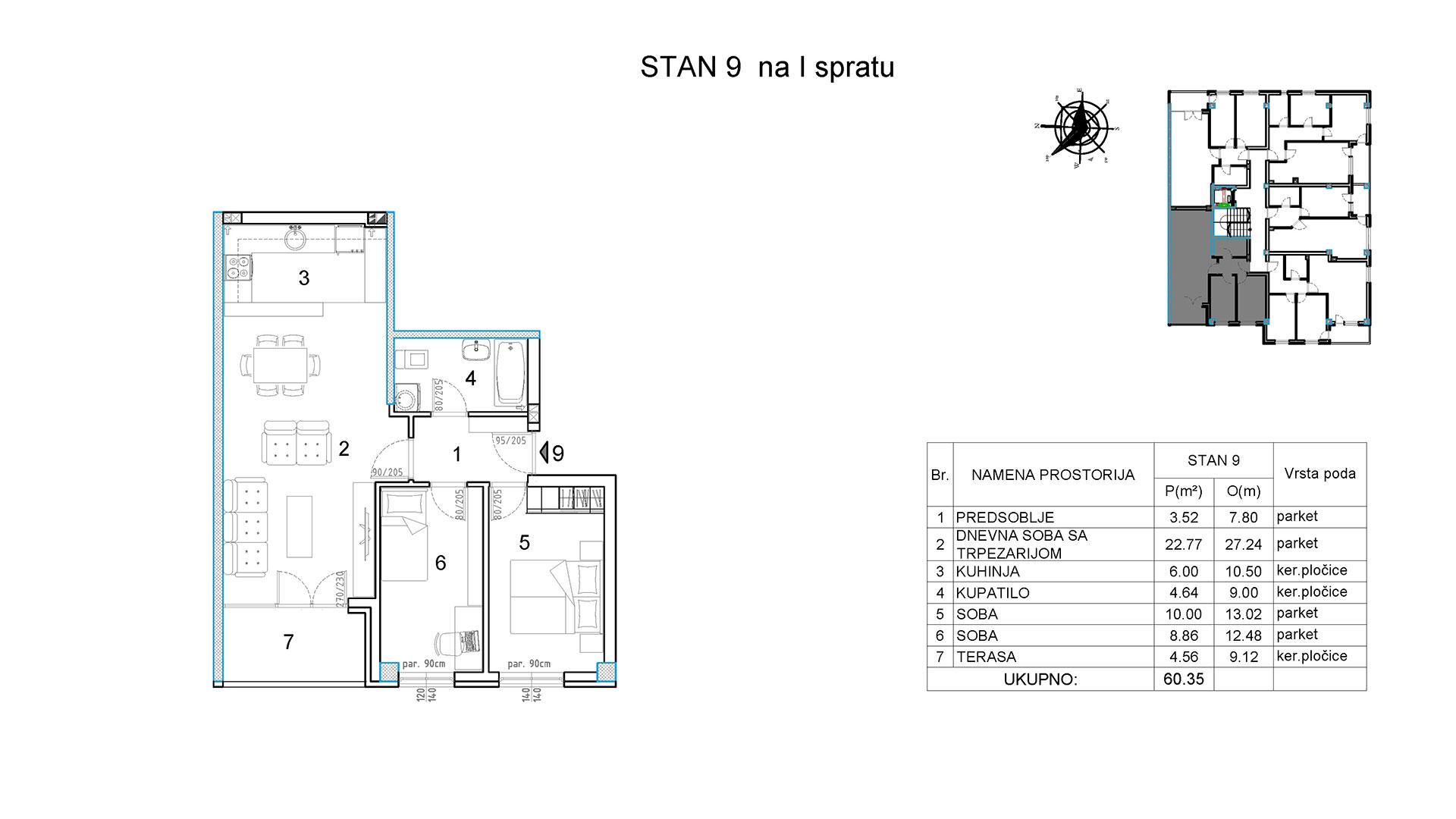 Objekat u Borivoja Stevanovica bb - Stan 9