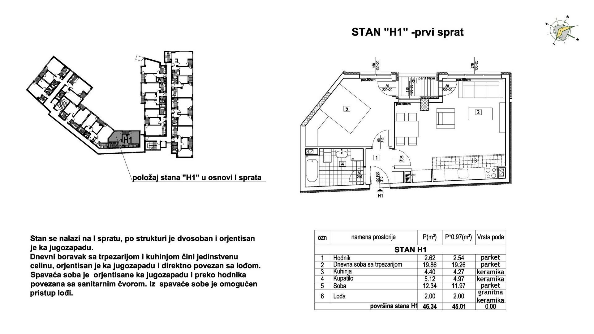 Objekat u Prešernovoj bb - Stan H1