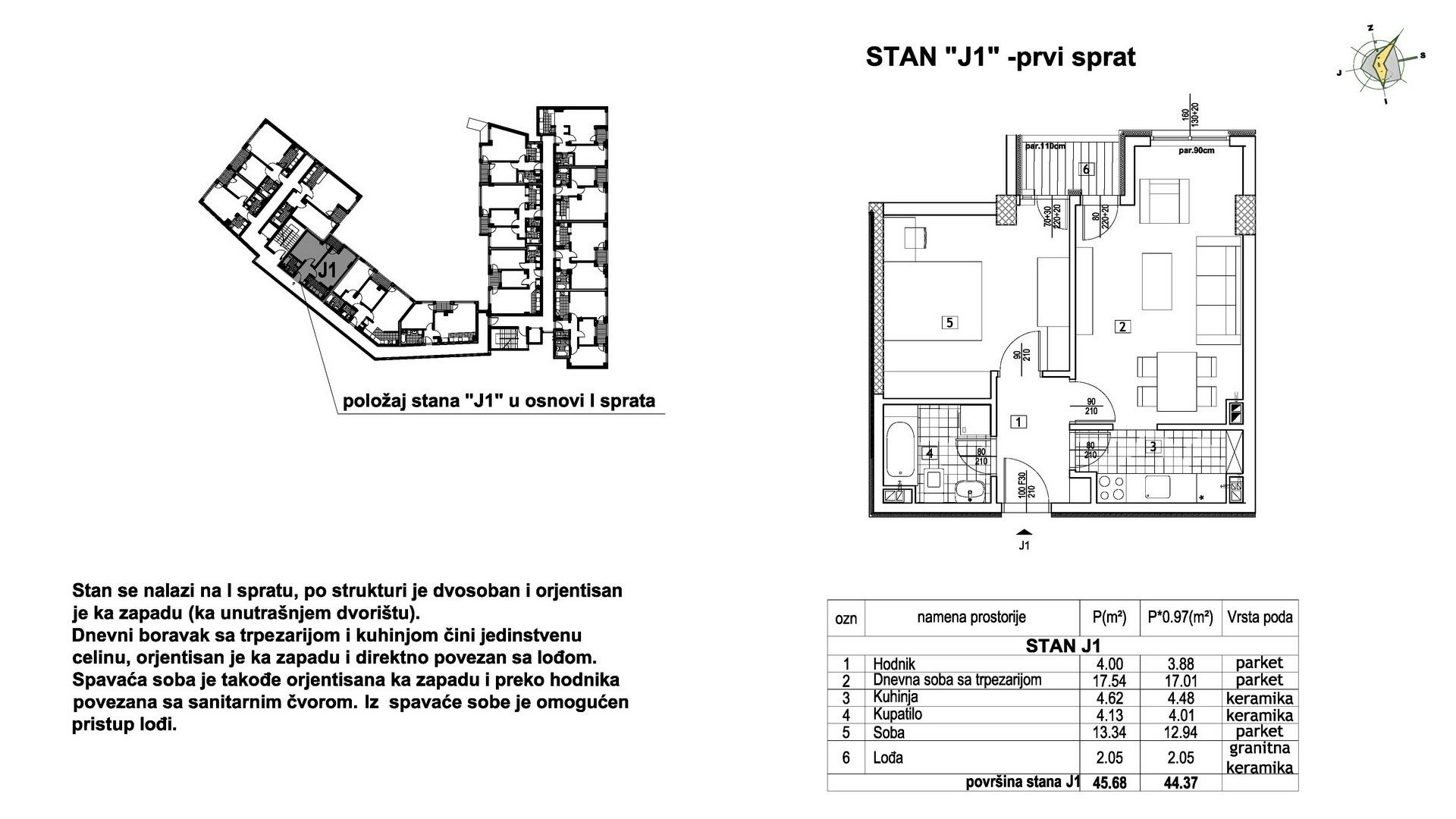 Objekat u Prešernovoj bb - Stan J1