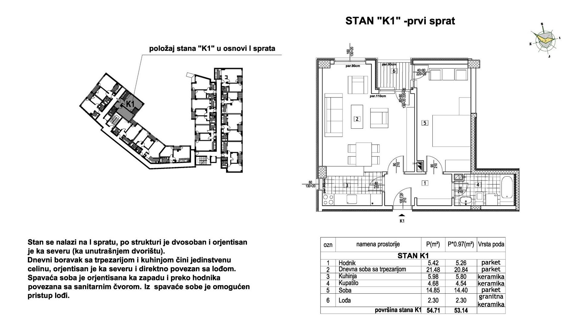 Objekat u Prešernovoj bb - Stan K1