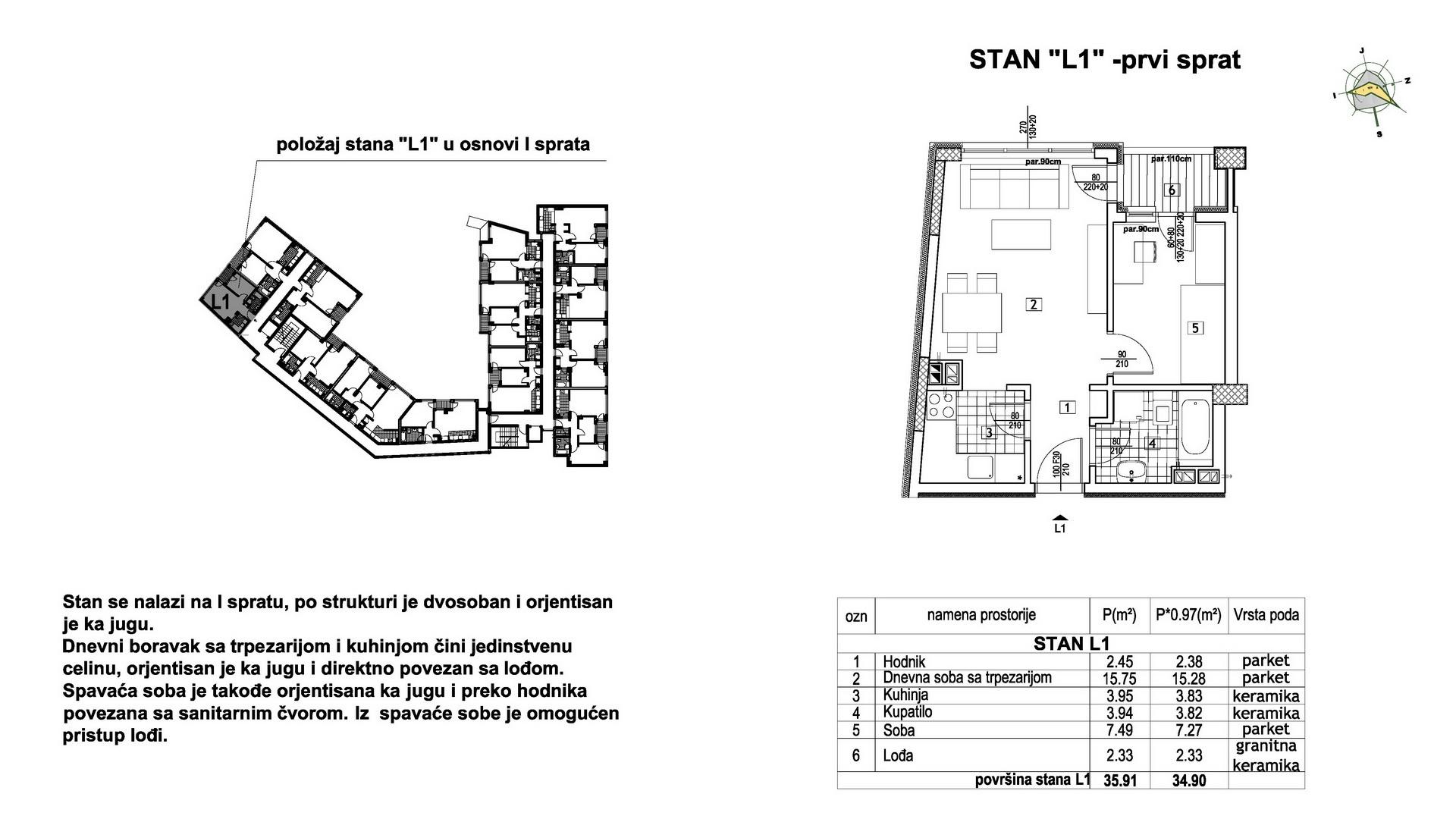 Objekat u Prešernovoj bb - Stan L1