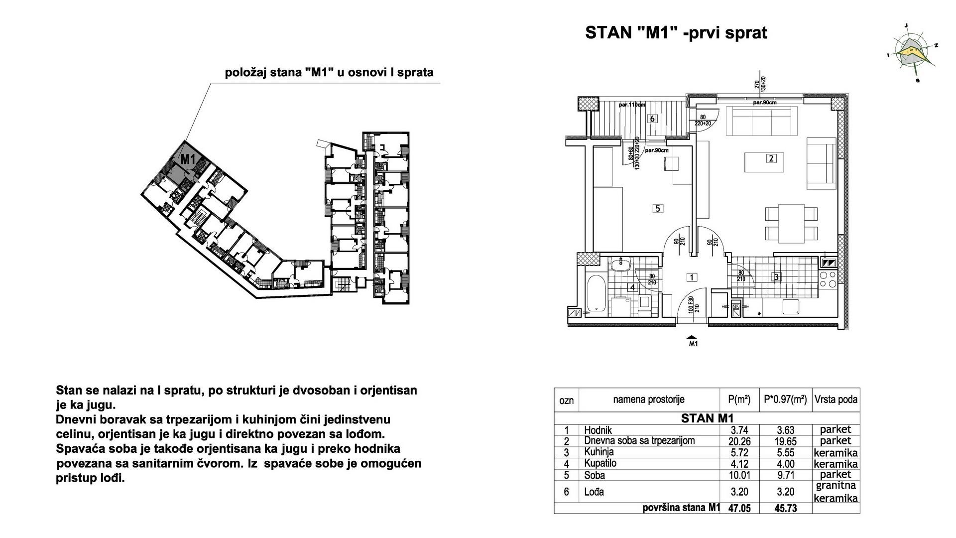 Objekat u Prešernovoj bb - Stan M1