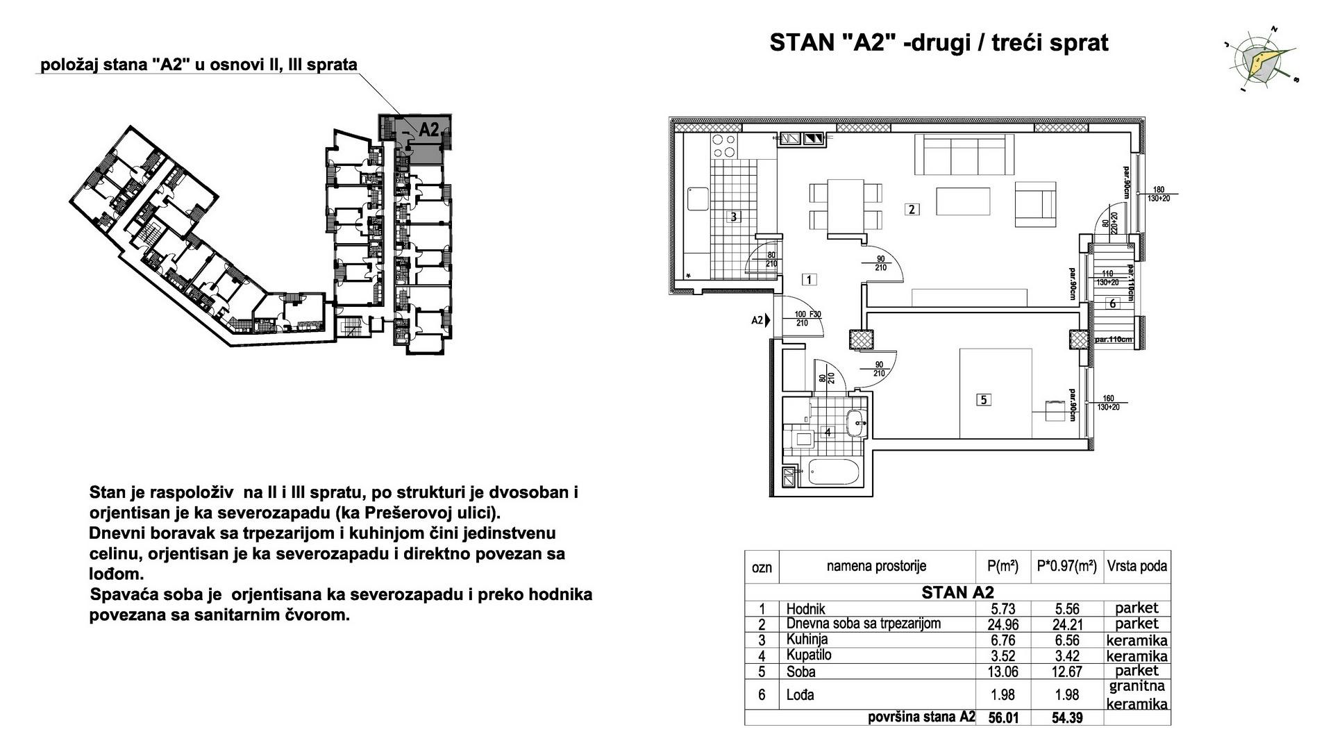 Objekat u Prešernovoj bb - Stan A2