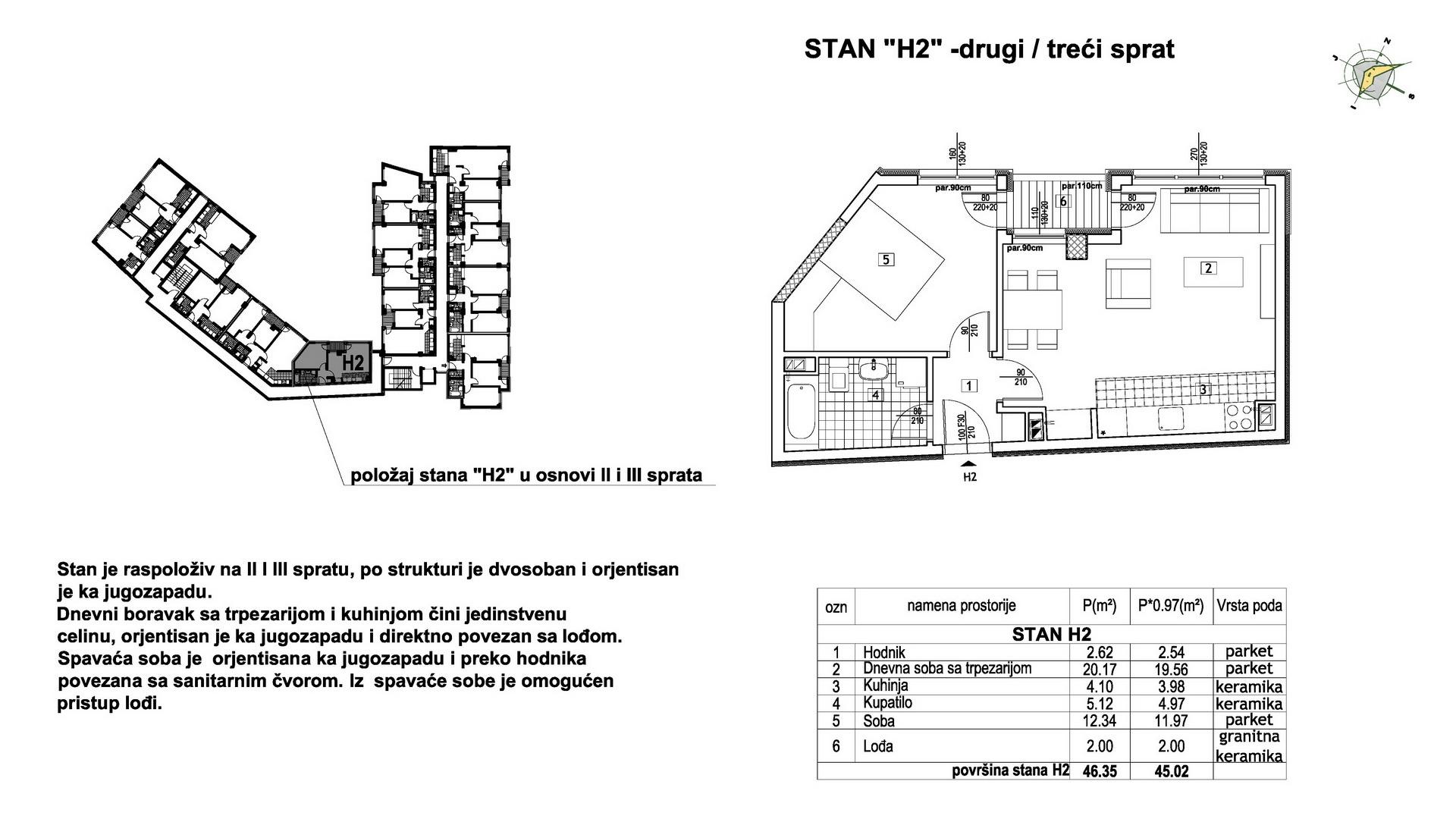 Objekat u Prešernovoj bb - Stan H2