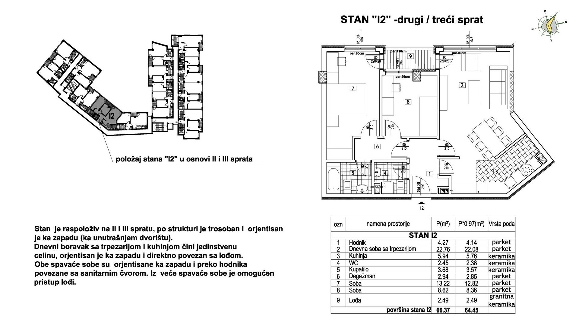 Objekat u Prešernovoj bb - Stan I2
