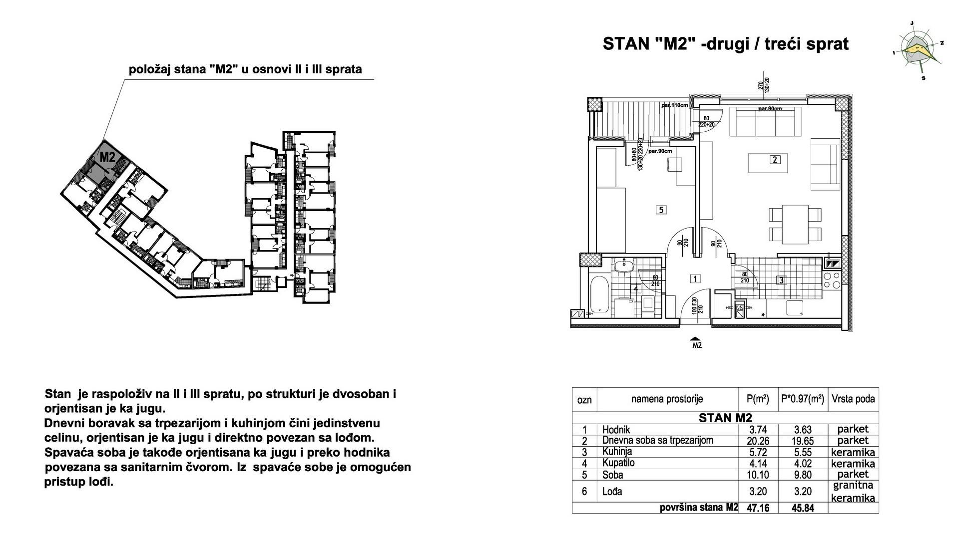 Objekat u Prešernovoj bb - Stan M2