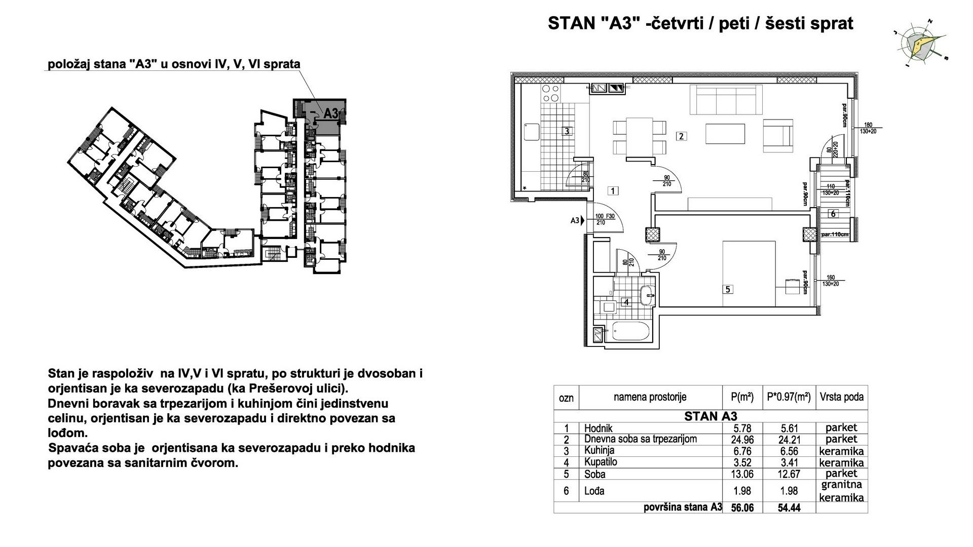 Objekat u Prešernovoj bb - Stan A3