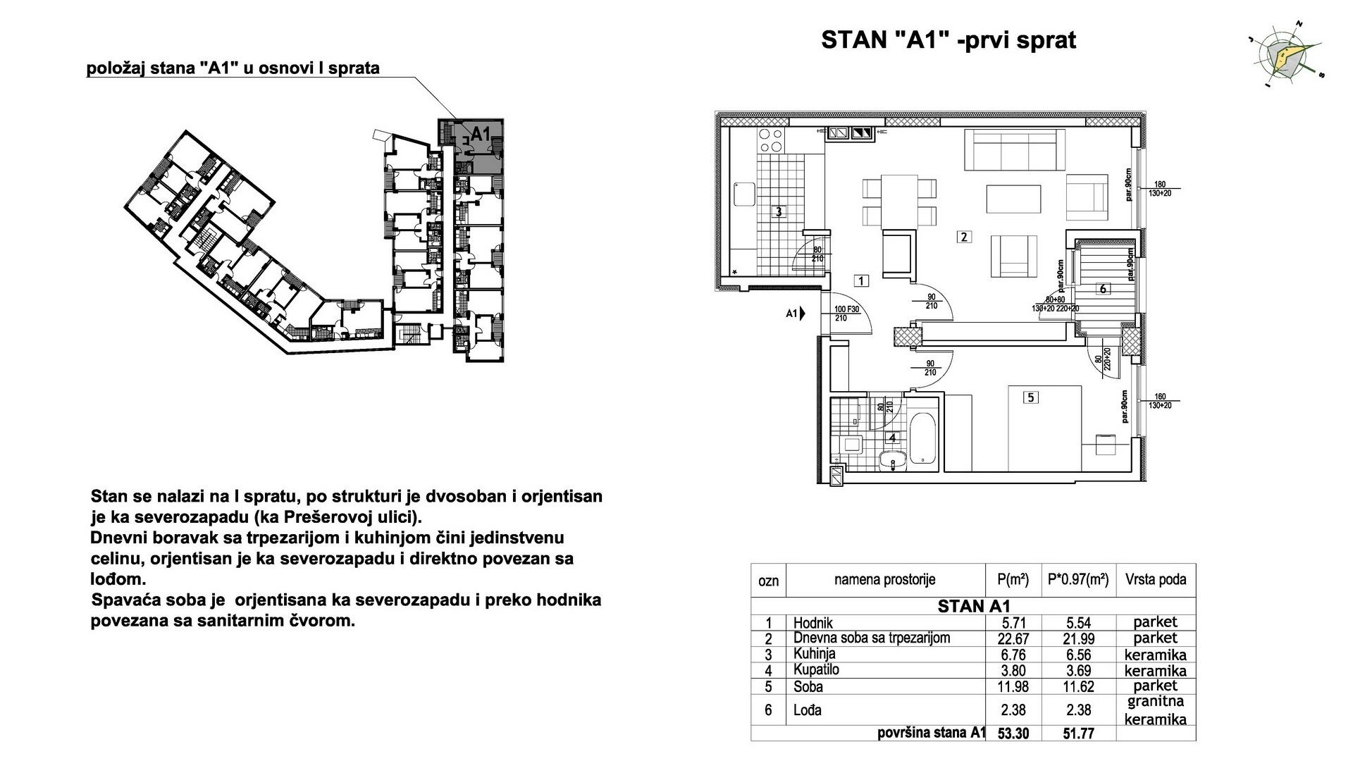 Objekat u Prešernovoj bb - Stan A1