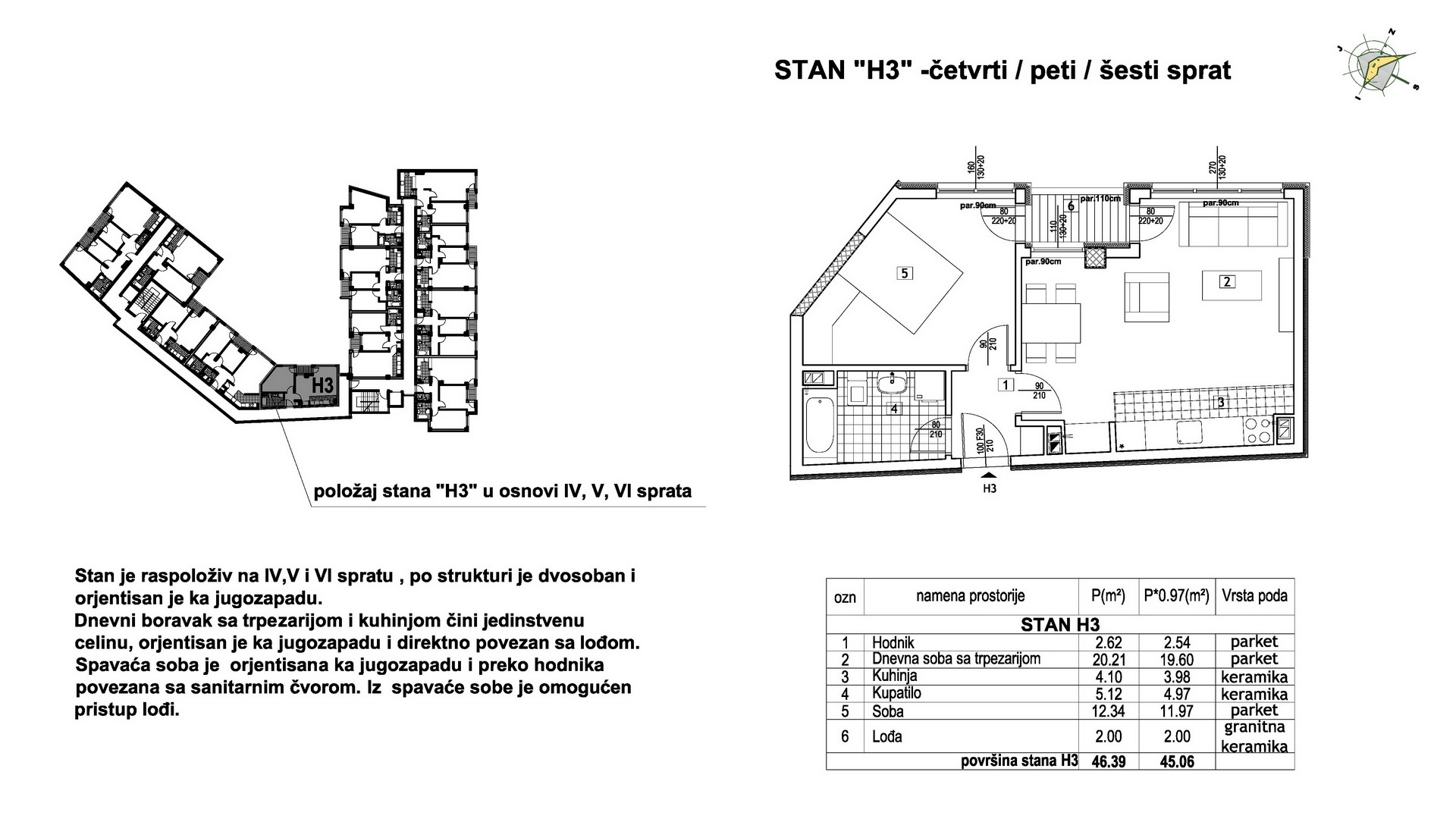 Objekat u Prešernovoj bb - Stan H3