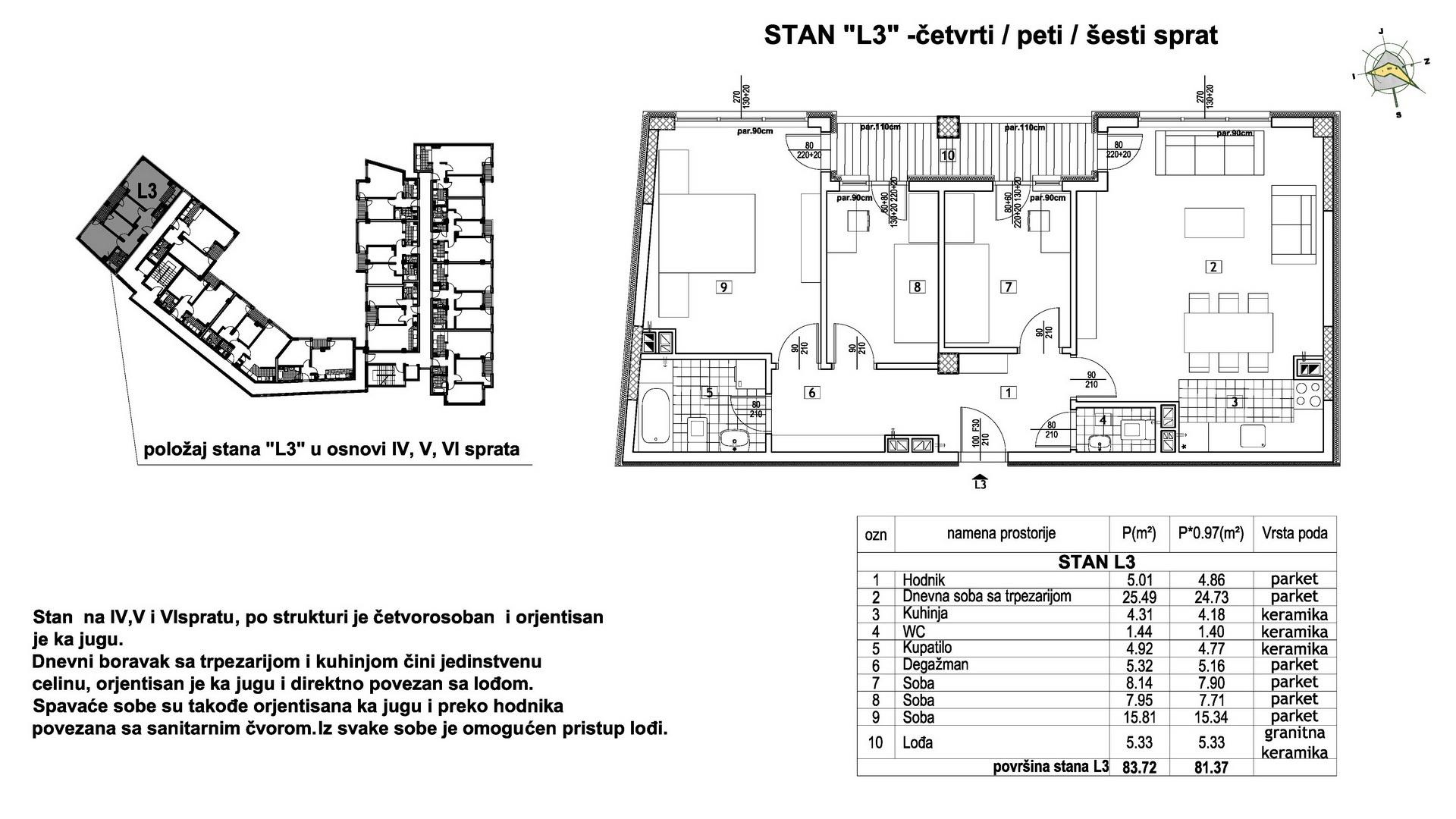 Objekat u Prešernovoj bb - Stan L3