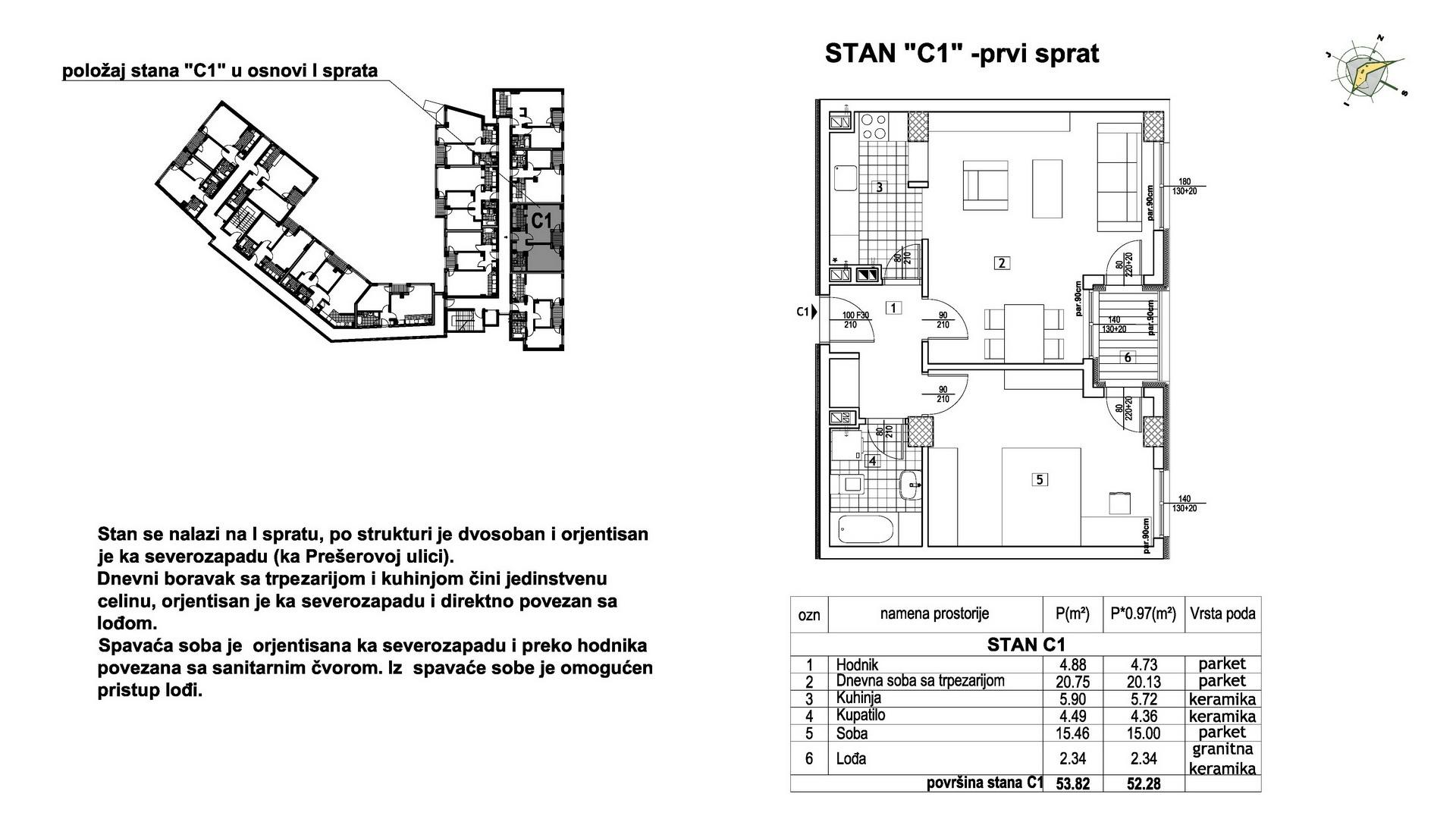 Objekat u Prešernovoj bb - Stan C1