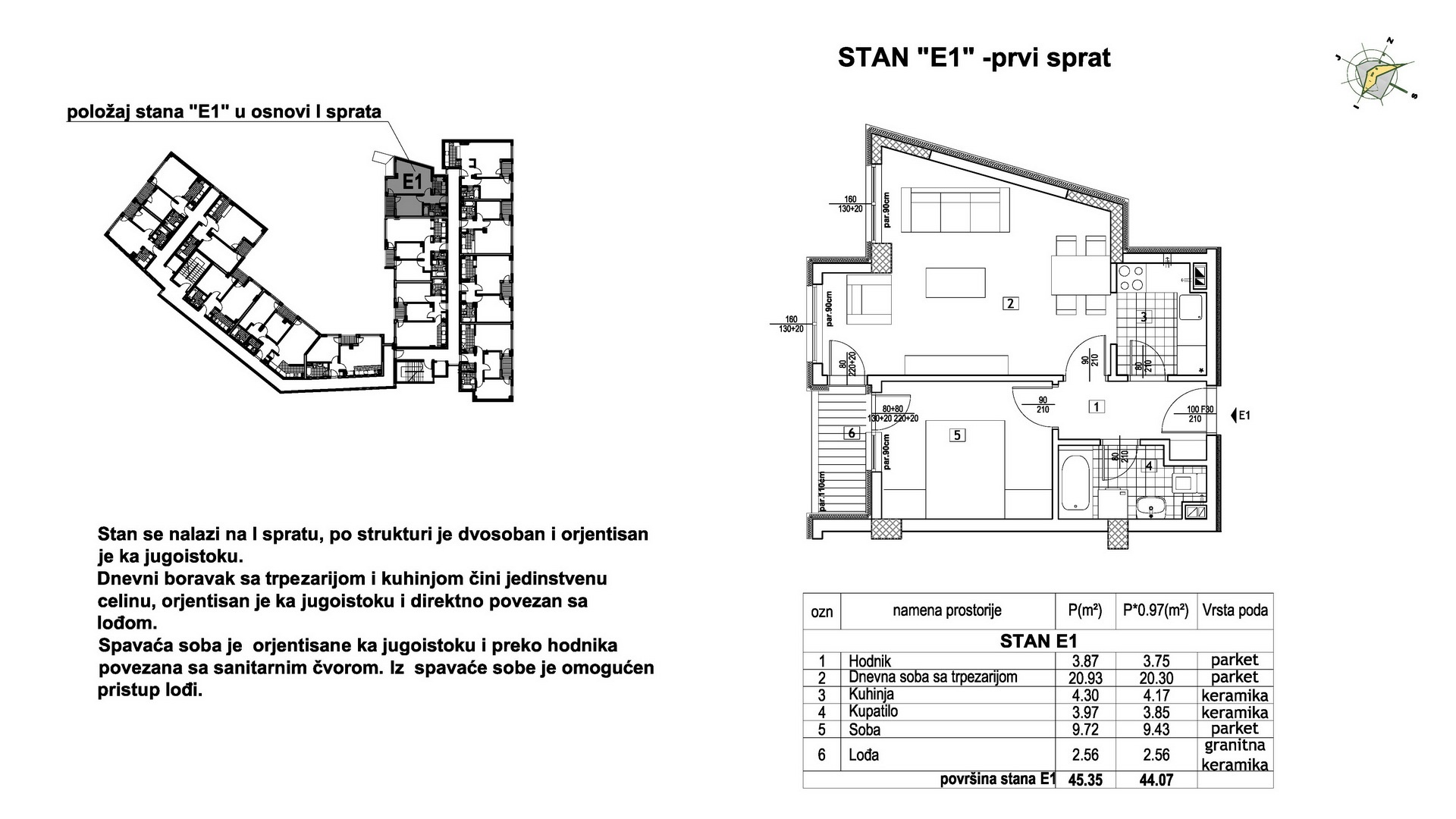 Objekat u Prešernovoj bb - Stan E1