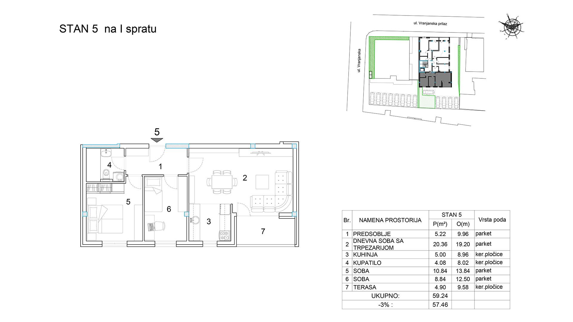 Objekat u Vranjanskoj 2A - stan 5