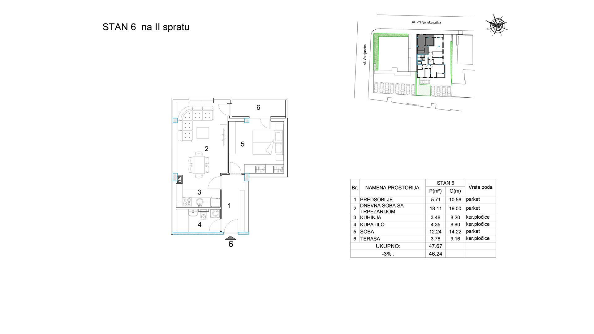 Objekat u Vranjanskoj 2A - stan 6