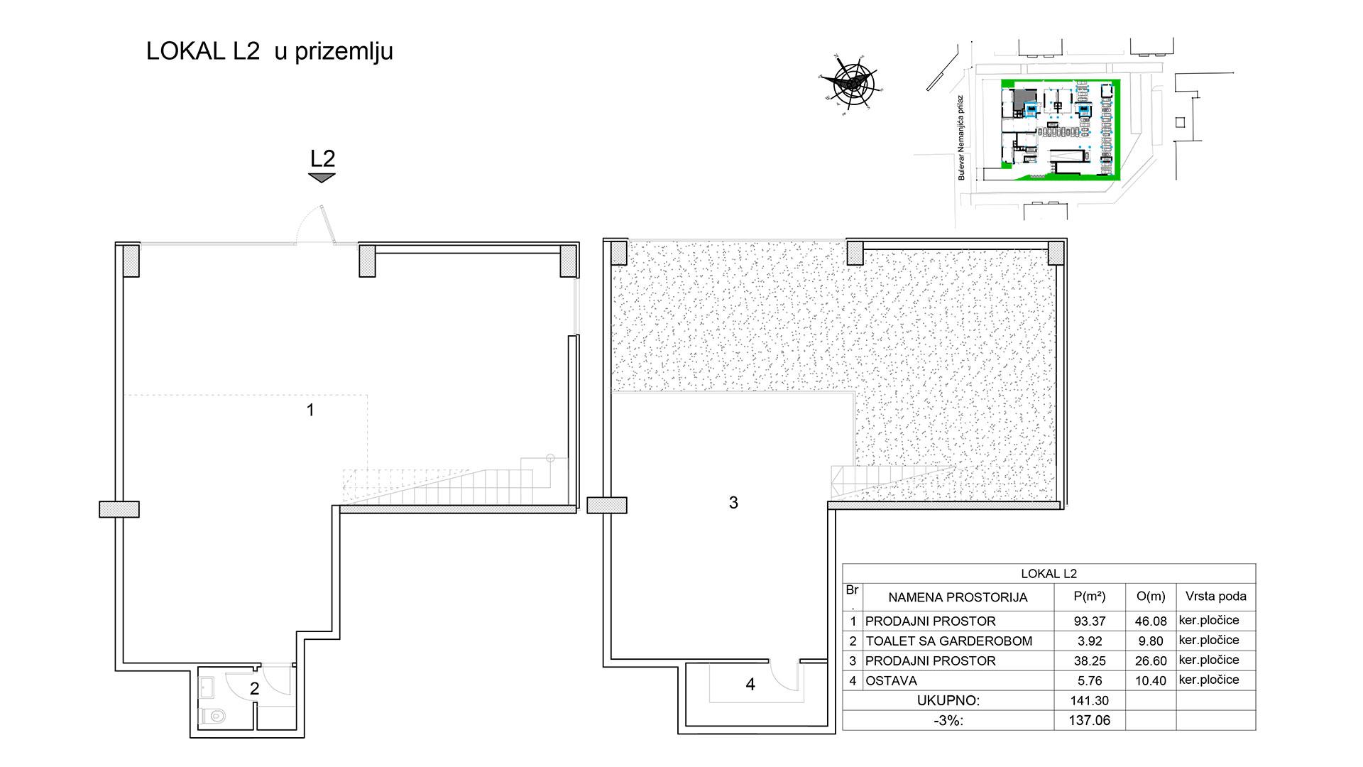 Prodaja stanova Niš - Objekat u Bulevar Nemanjića bb Lokal L2