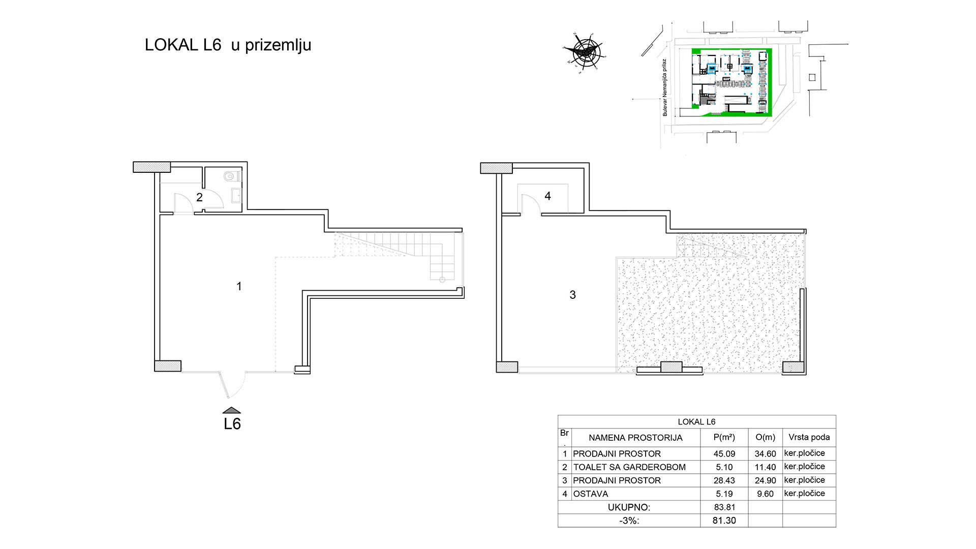 Prodaja stanova Niš - Objekat u Bulevar Nemanjića bb Lokal L6