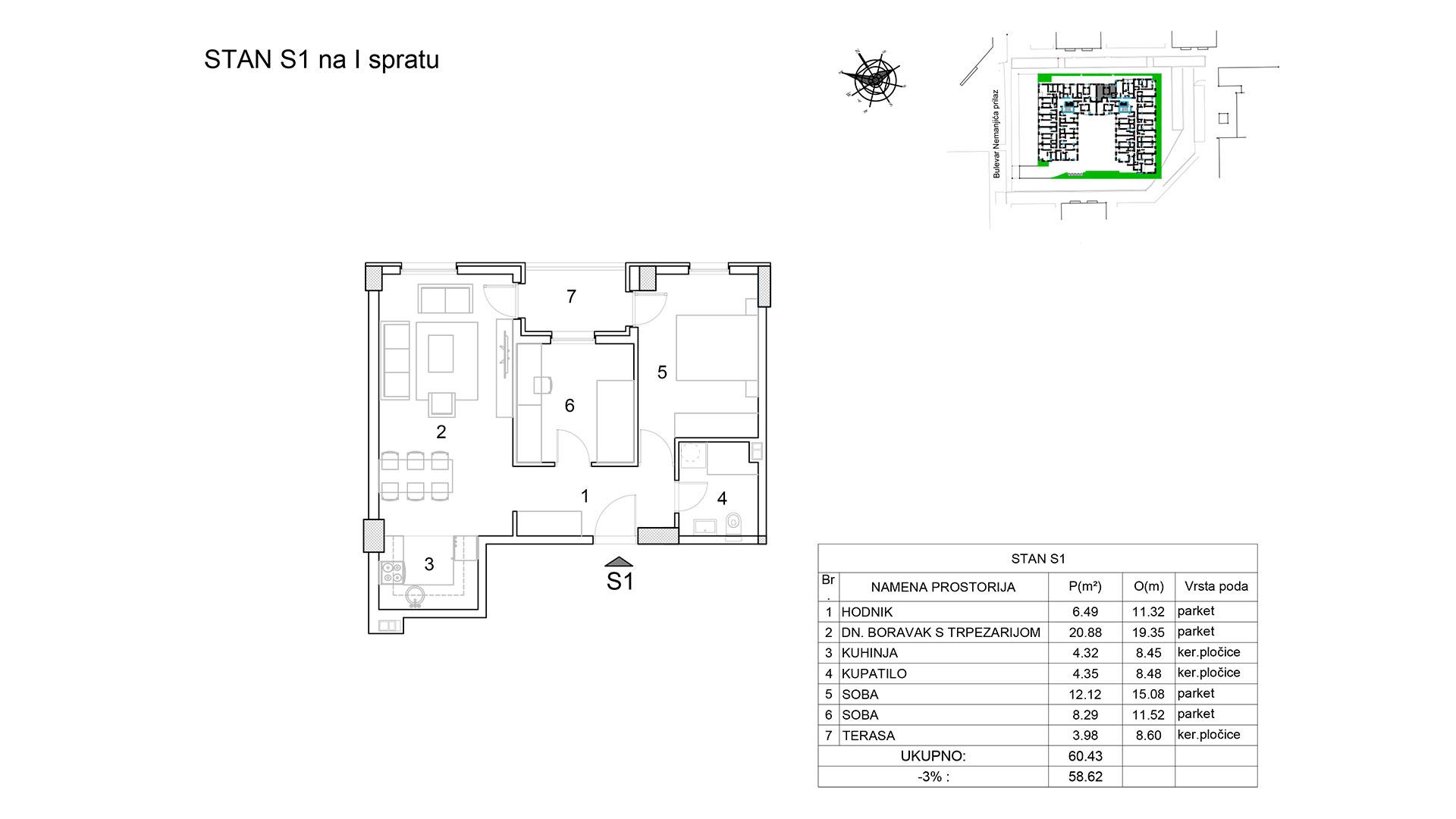 Prodaja stanova Niš - Objekat u Bulevar Nemanjića bb Stan S1 B