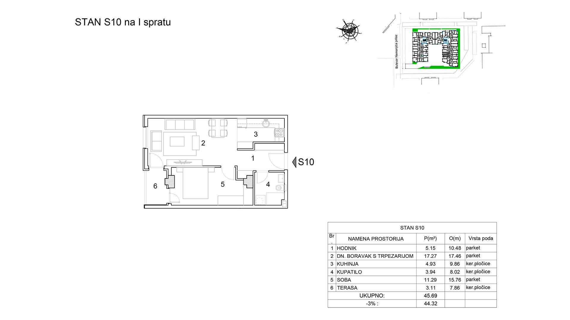 Prodaja stanova Niš - Objekat u Bulevar Nemanjića bb Stan S10 B