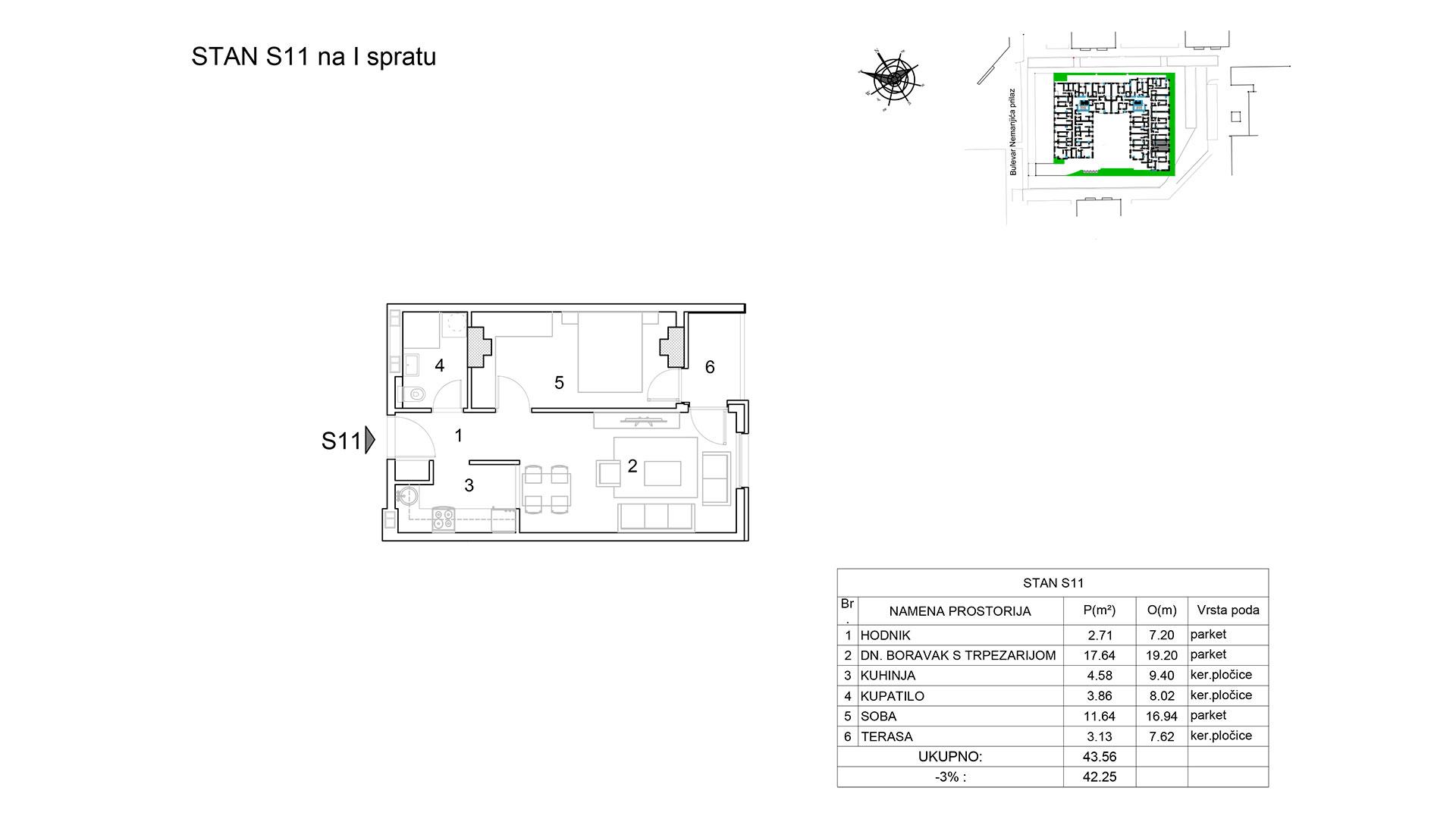 Prodaja stanova Niš - Objekat u Bulevar Nemanjića bb Stan S11 B