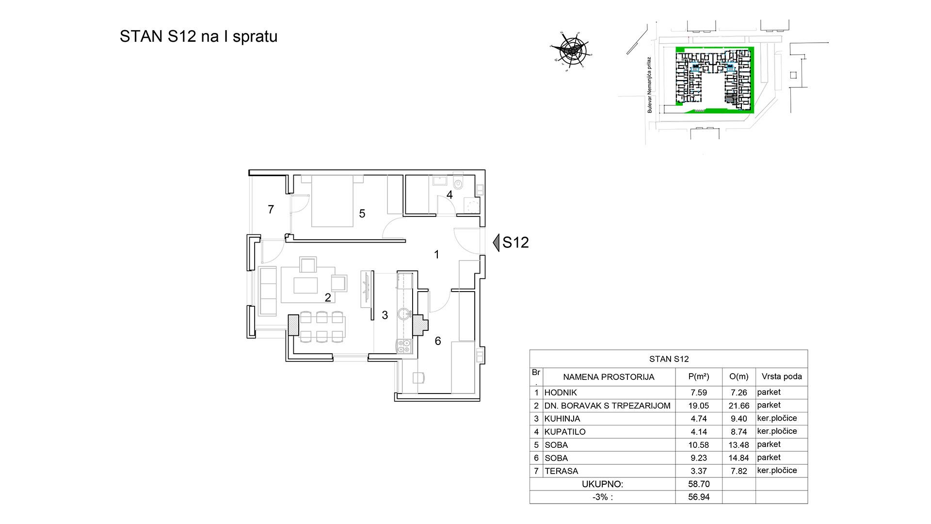 Prodaja stanova Niš - Objekat u Bulevar Nemanjića bb Stan S12 B