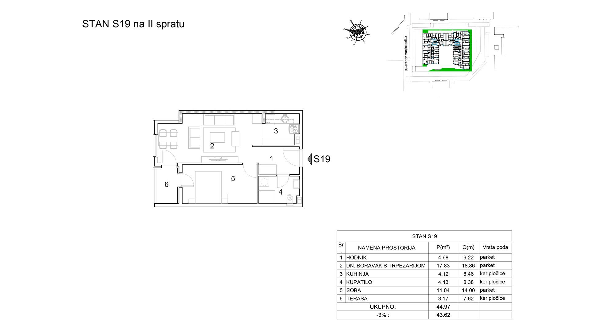 Prodaja stanova Niš - Objekat u Bulevar Nemanjića bb Stan S19 B