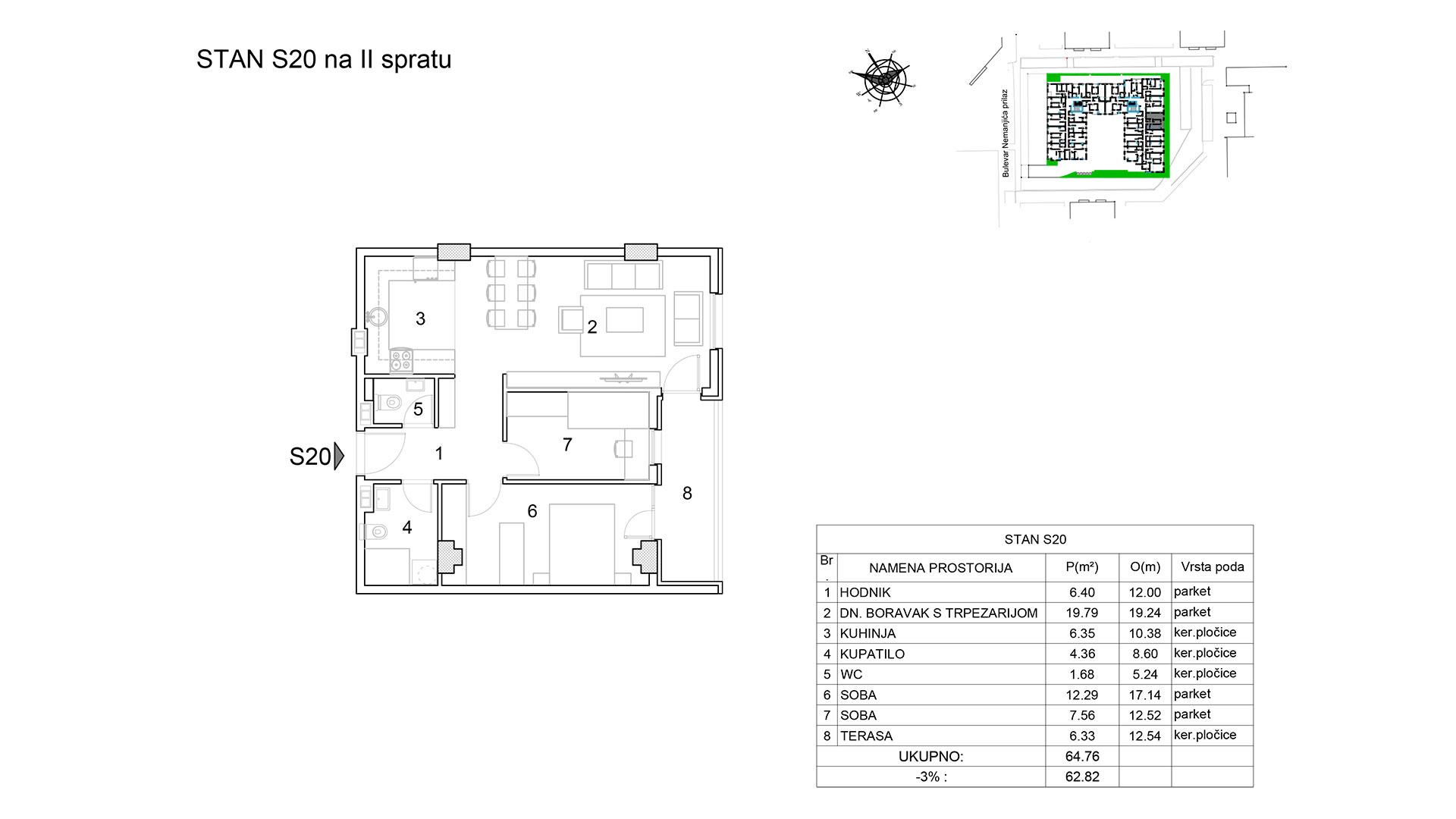 Prodaja stanova Niš - Objekat u Bulevar Nemanjića bb Stan S20 B