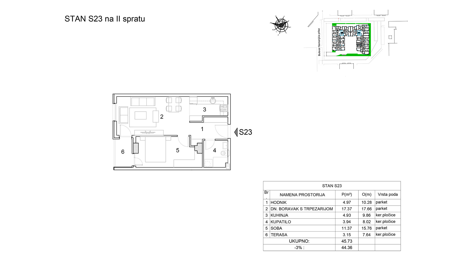 Prodaja stanova Niš - Objekat u Bulevar Nemanjića bb Stan S23 B