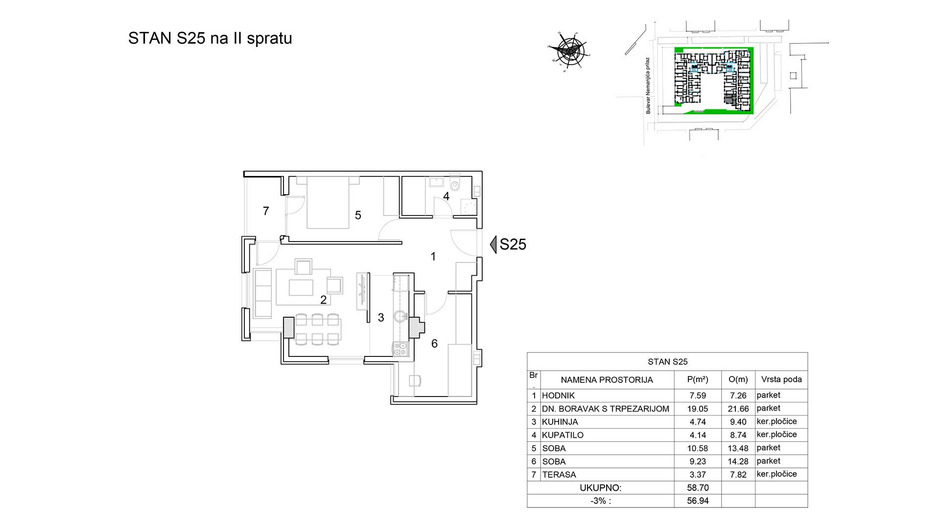 Prodaja stanova Niš - Objekat u Bulevar Nemanjića bb Stan S25 B