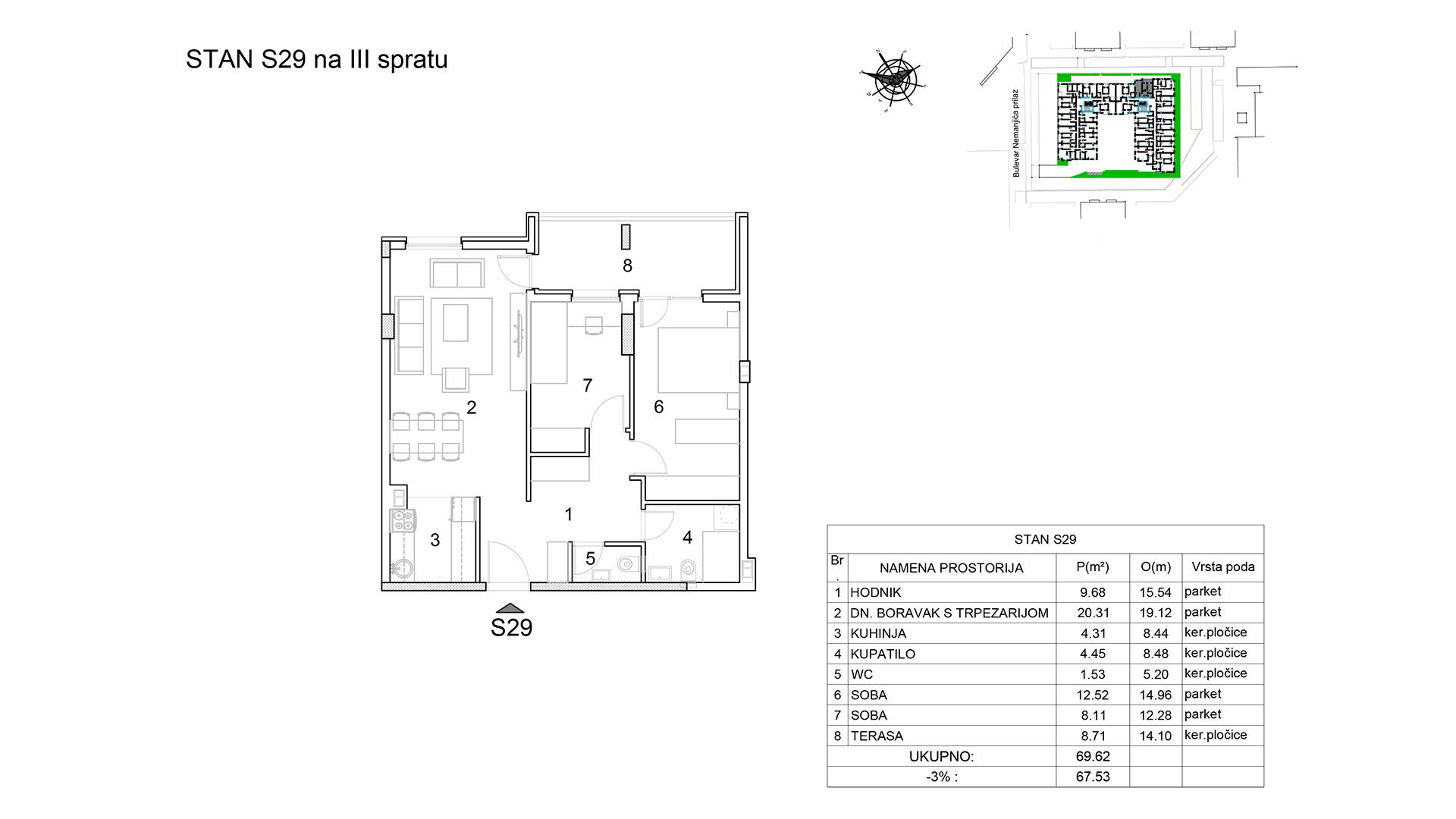 Prodaja stanova Niš - Objekat u Bulevar Nemanjića bb Stan S29 B
