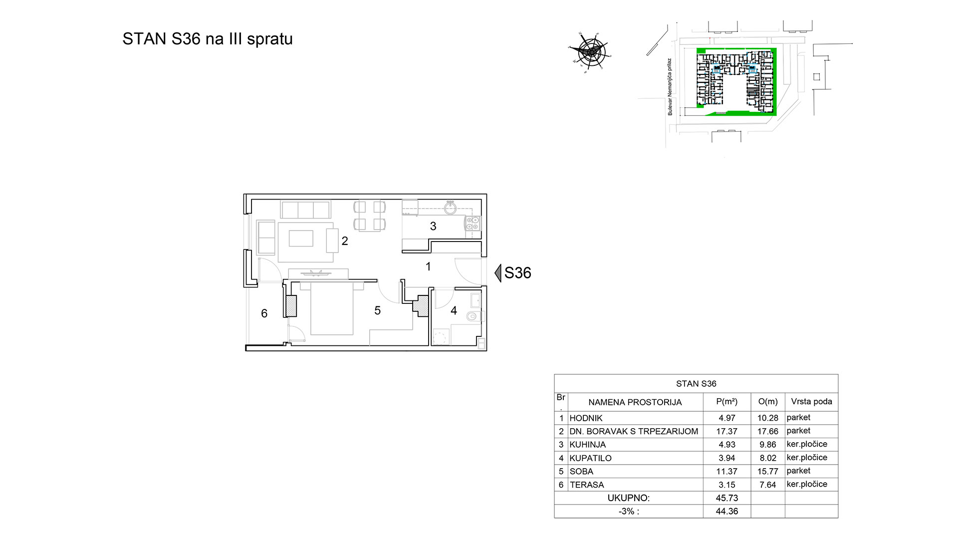 Prodaja stanova Niš - Objekat u Bulevar Nemanjića bb Stan S36 B