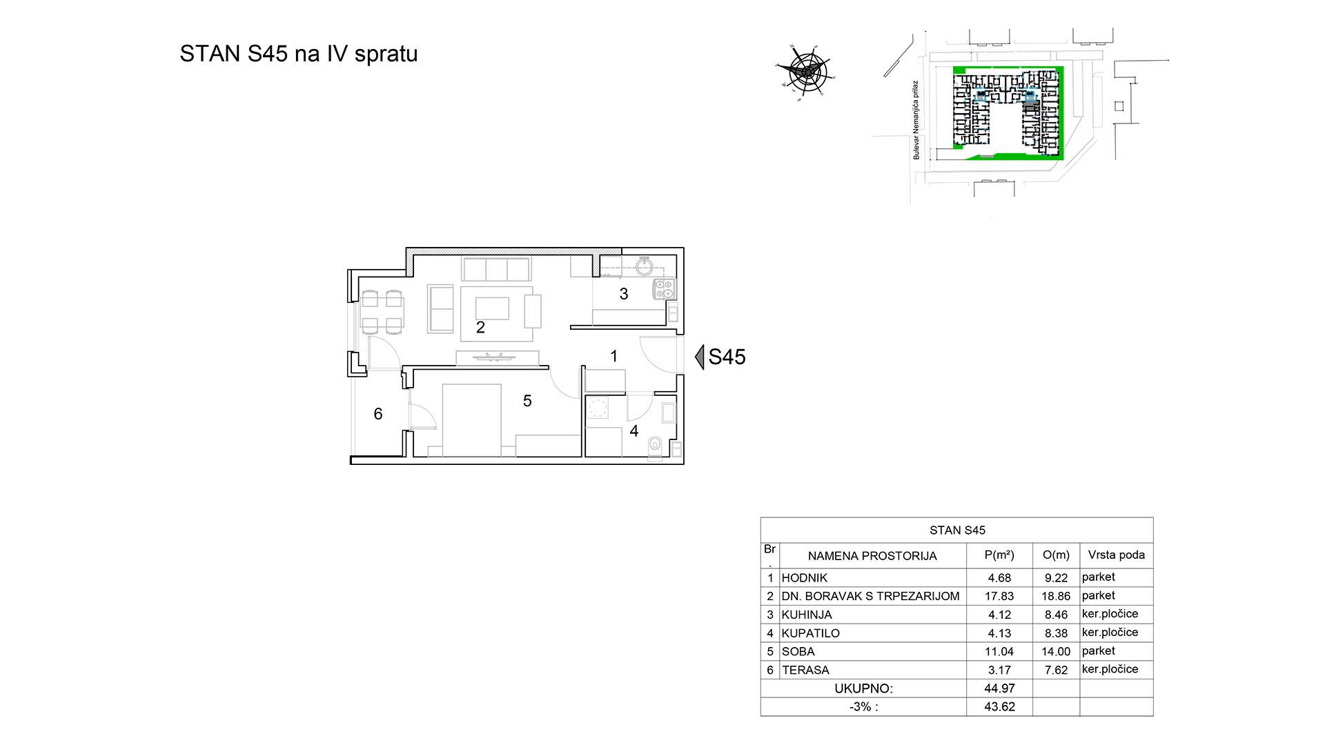 Prodaja stanova Niš - Objekat u Bulevar Nemanjića bb Stan S45 B