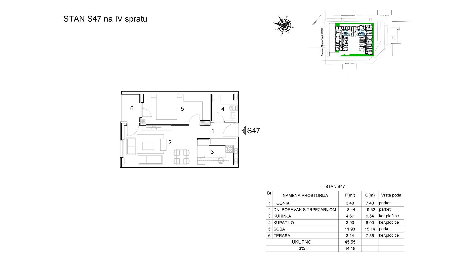 Prodaja stanova Niš - Objekat u Bulevar Nemanjića bb Stan S47 B