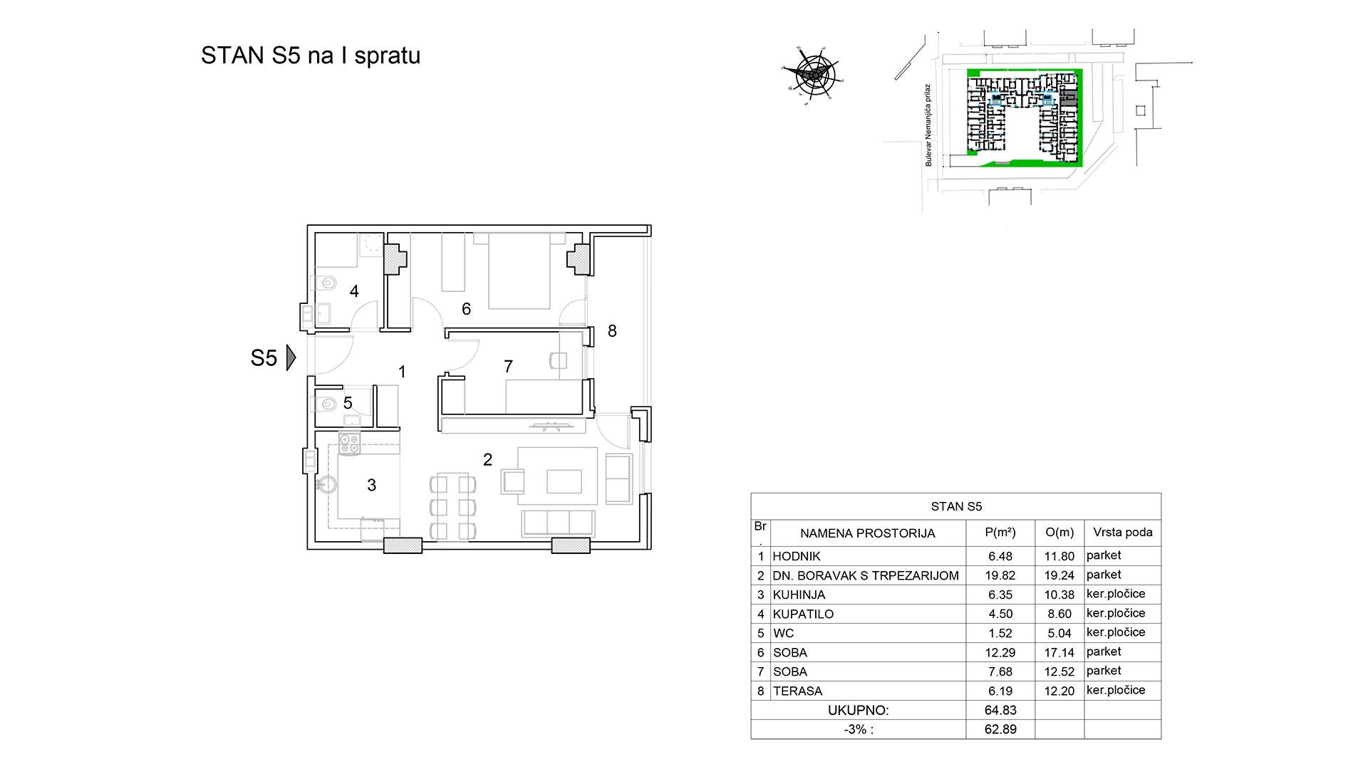 Prodaja stanova Niš - Objekat u Bulevar Nemanjića bb Stan S5 B