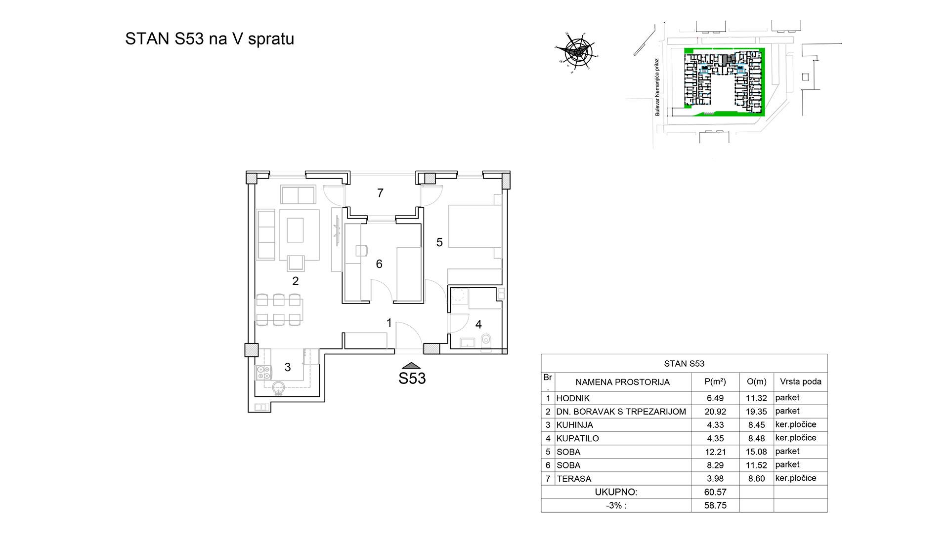 Prodaja stanova Niš - Objekat u Bulevar Nemanjića bb Stan S53 B