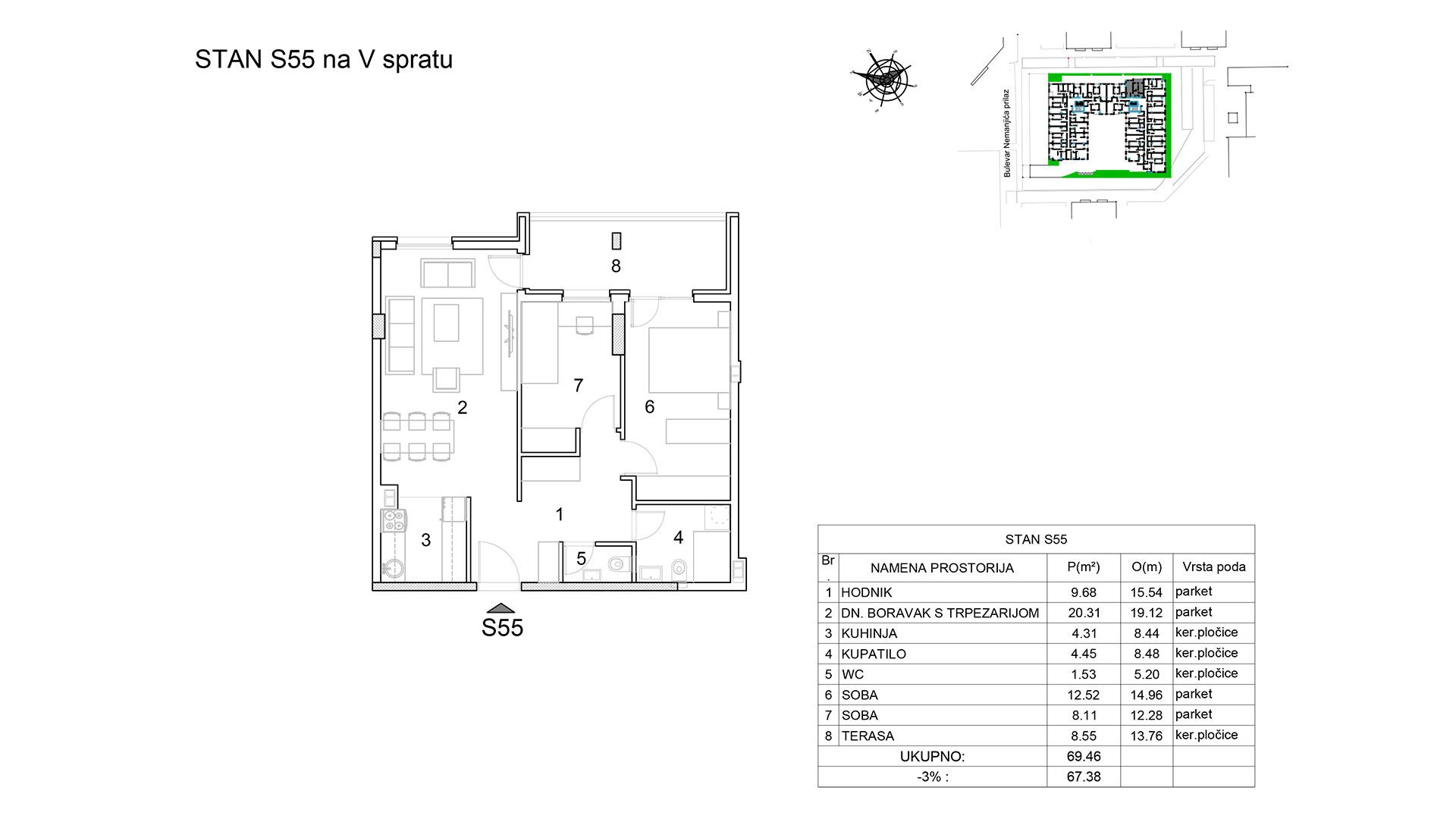 Prodaja stanova Niš - Objekat u Bulevar Nemanjića bb Stan S55 B