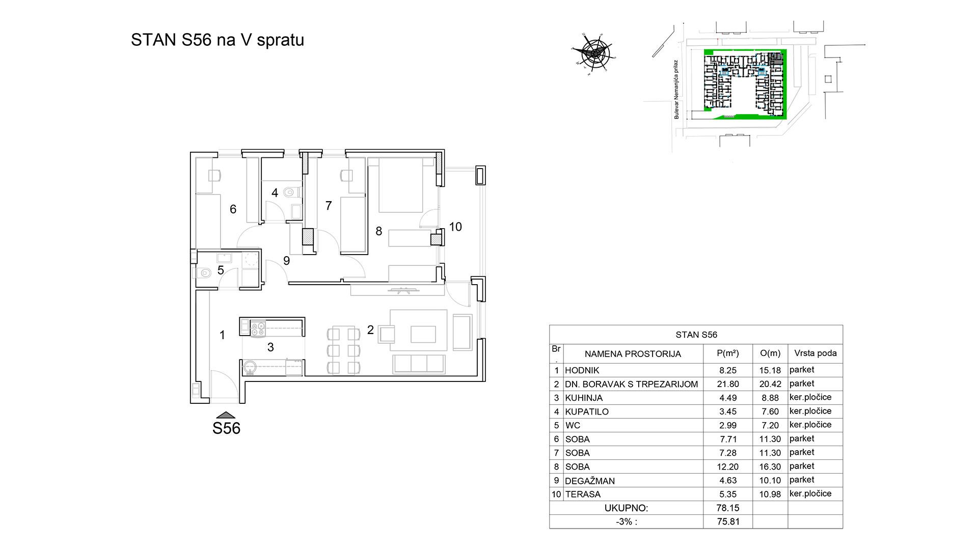 Prodaja stanova Niš - Objekat u Bulevar Nemanjića bb Stan S56 B