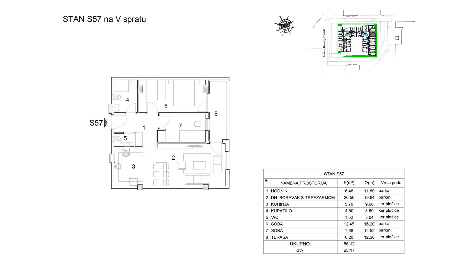 Prodaja stanova Niš - Objekat u Bulevar Nemanjića bb Stan S57 B