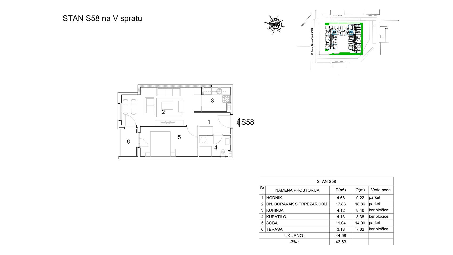 Prodaja stanova Niš - Objekat u Bulevar Nemanjića bb Stan S58 B