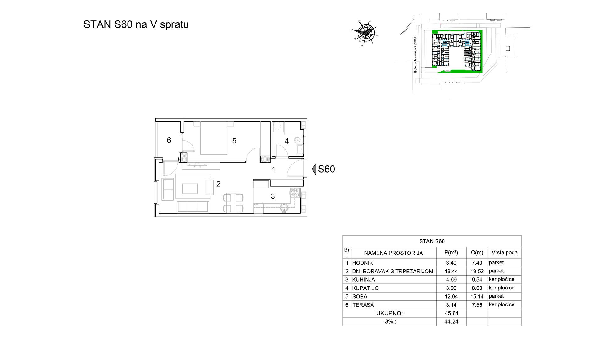 Prodaja stanova Niš - Objekat u Bulevar Nemanjića bb Stan S60 B