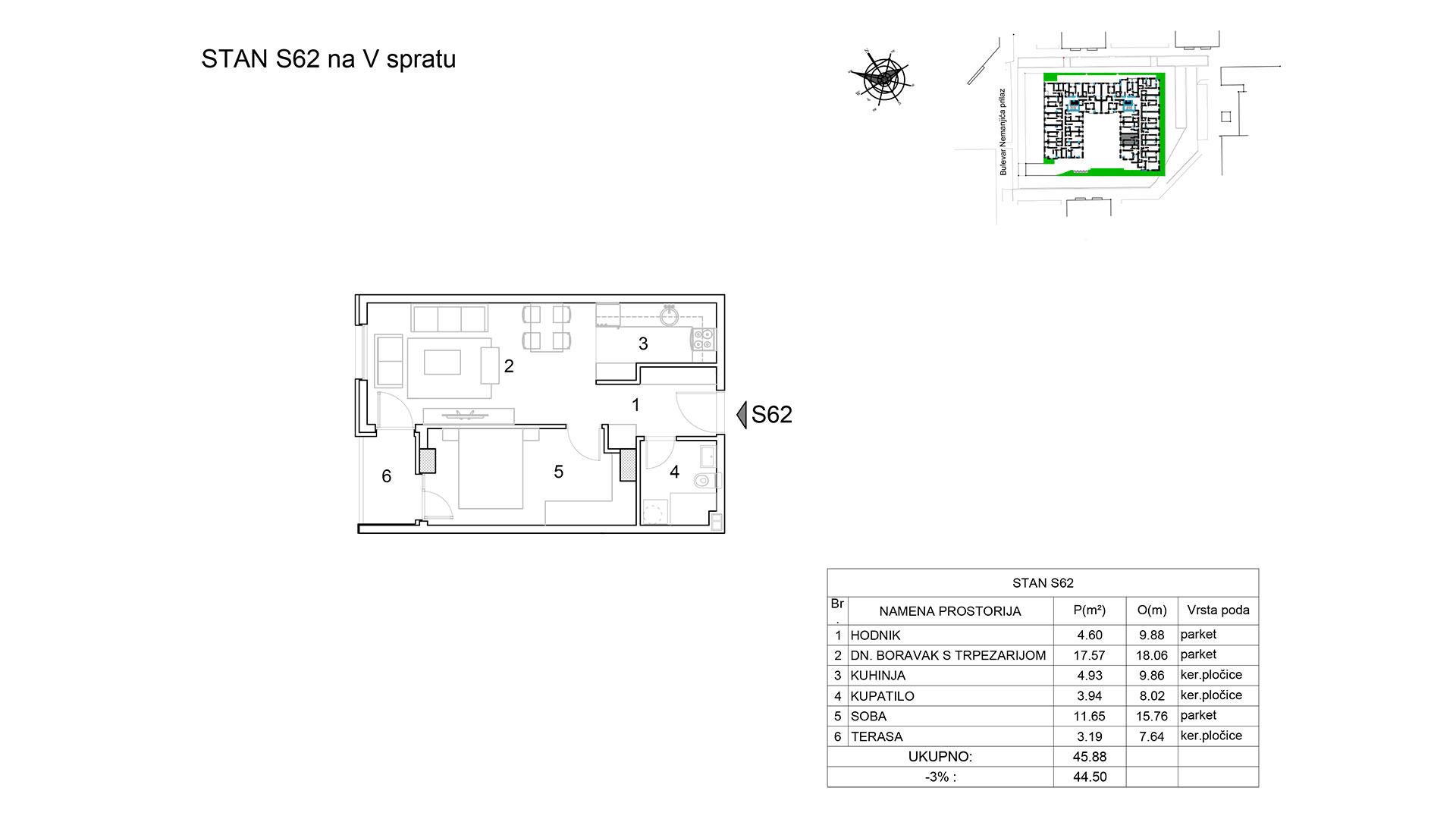 Prodaja stanova Niš - Objekat u Bulevar Nemanjića bb Stan S62 B