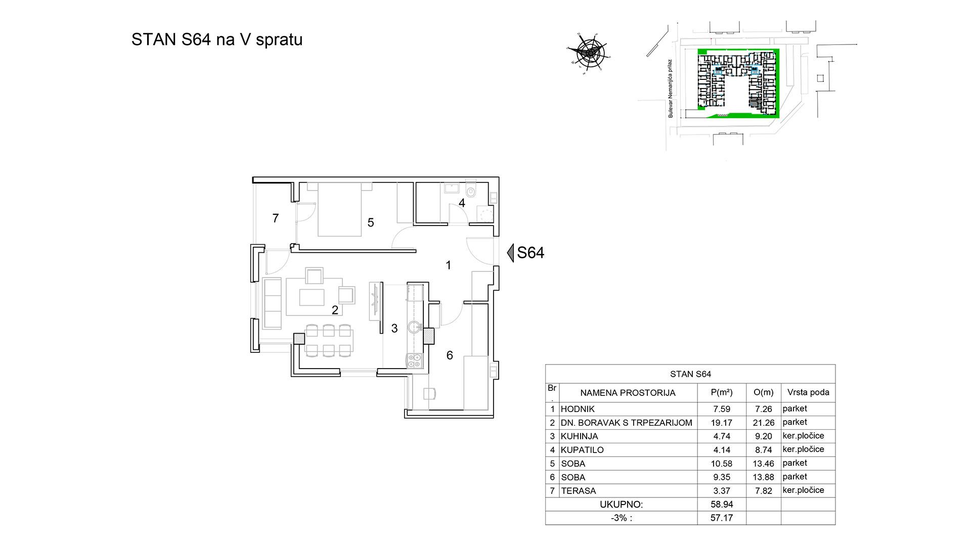 Prodaja stanova Niš - Objekat u Bulevar Nemanjića bb Stan S64 B