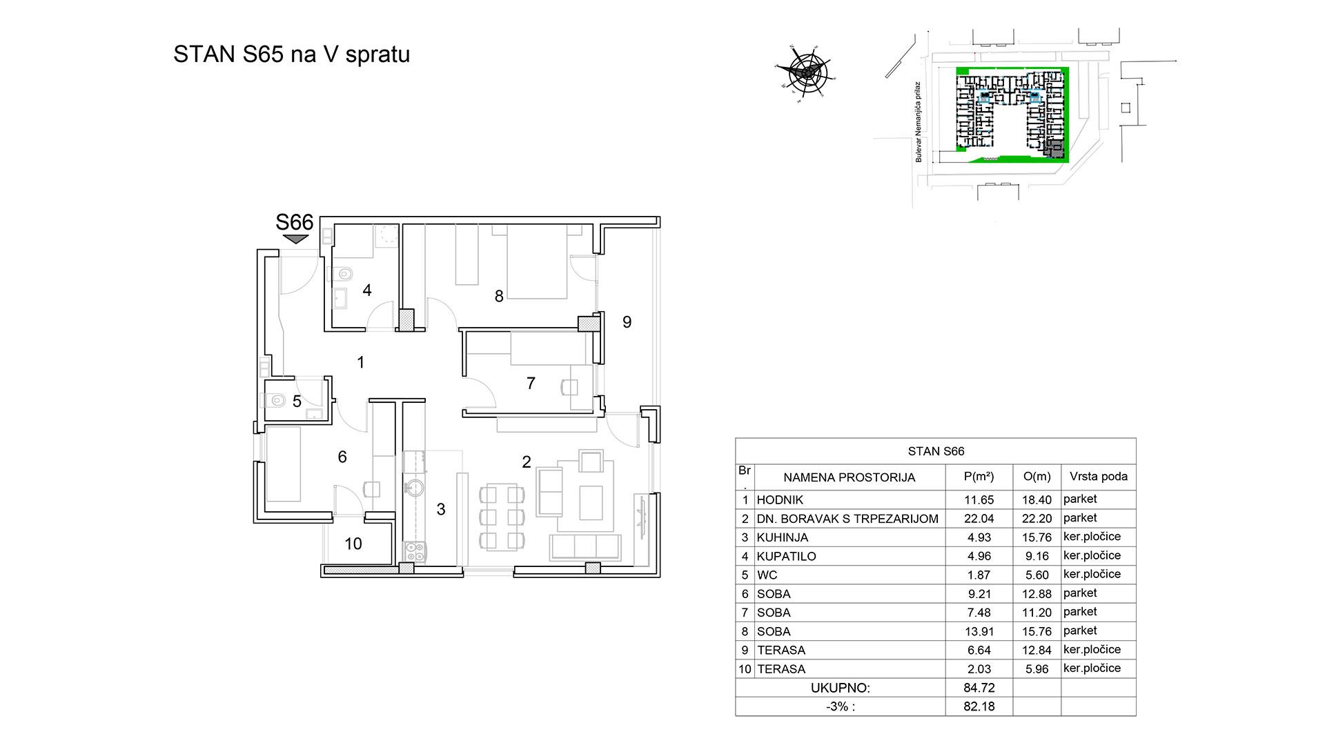 Prodaja stanova Niš - Objekat u Bulevar Nemanjića bb Stan S65 B
