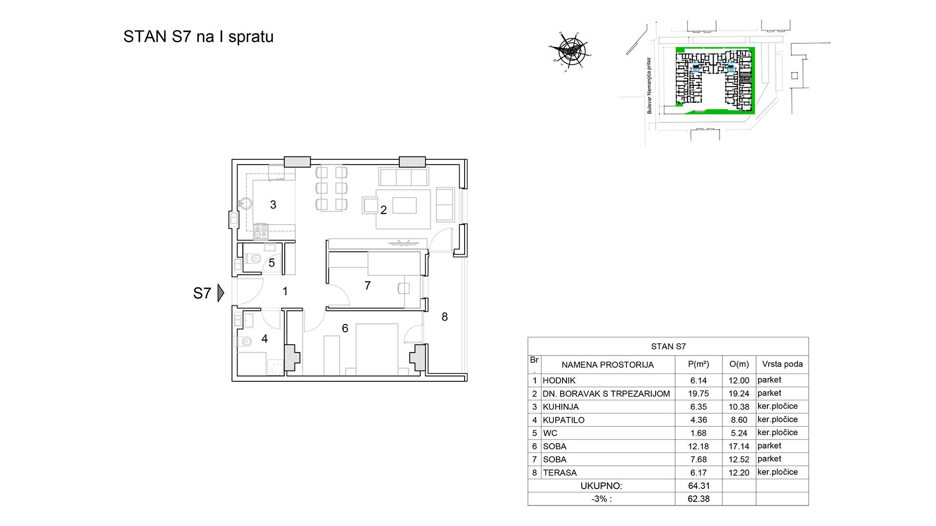 Prodaja stanova Niš - Objekat u Bulevar Nemanjića bb Stan S7 B